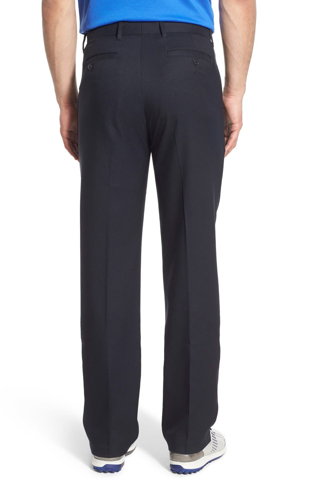 'Tech' Flat Front Wrinkle Free Golf Pants,                             Alternate thumbnail 3, color,                             Black