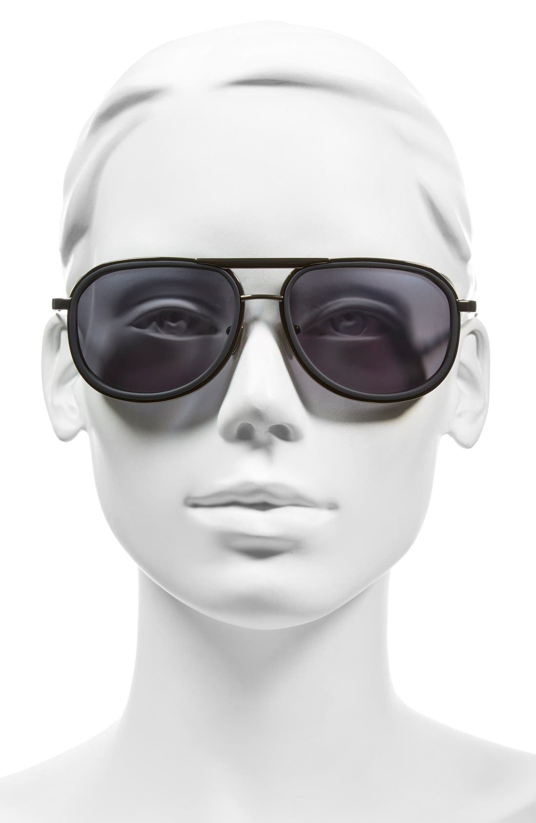 58mm Sunglasses,                             Alternate thumbnail 2, color,                             Black/ Matte Silver