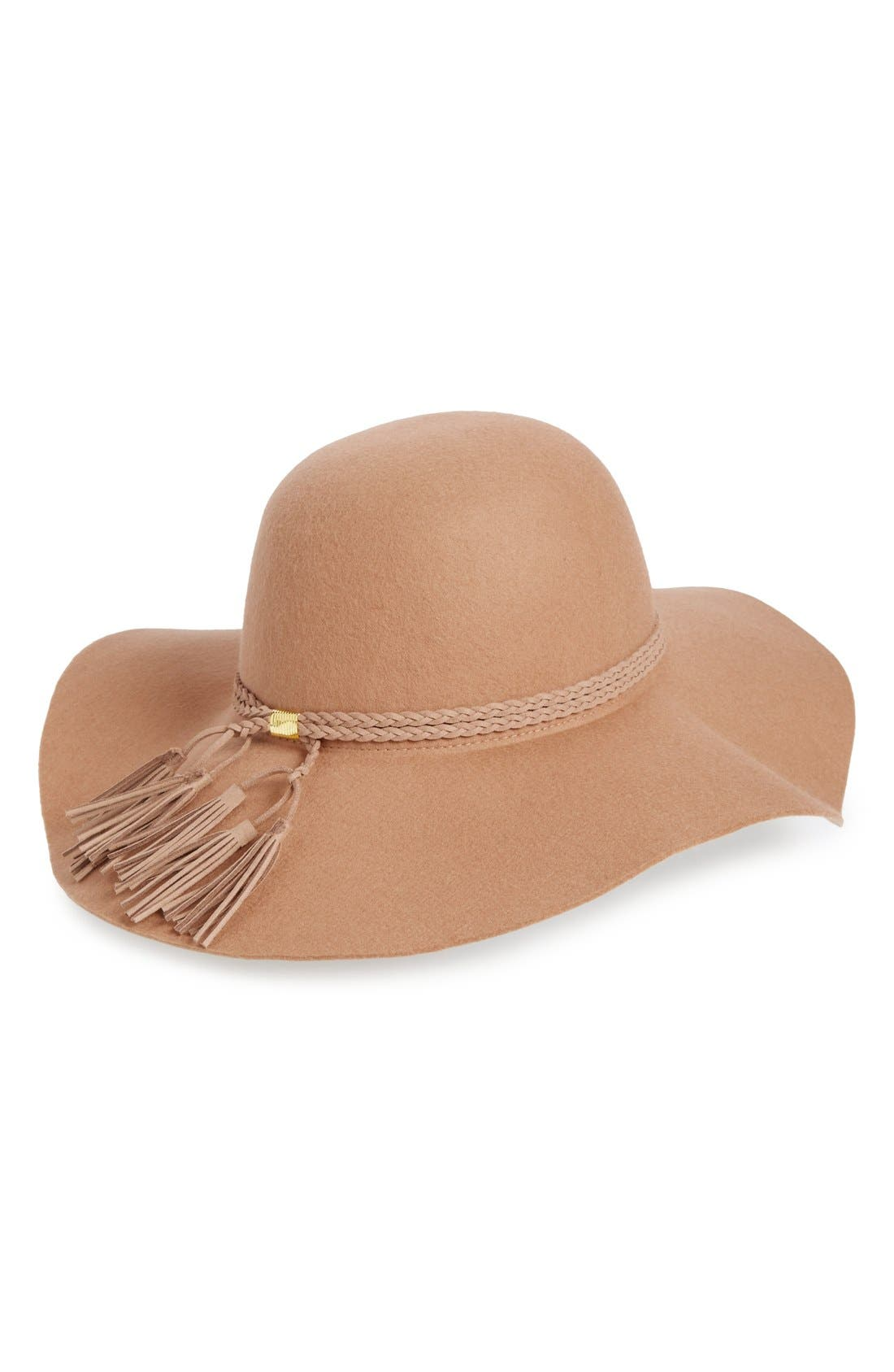 Tassel Floppy Wool Hat,                             Main thumbnail 1, color,                             Tan