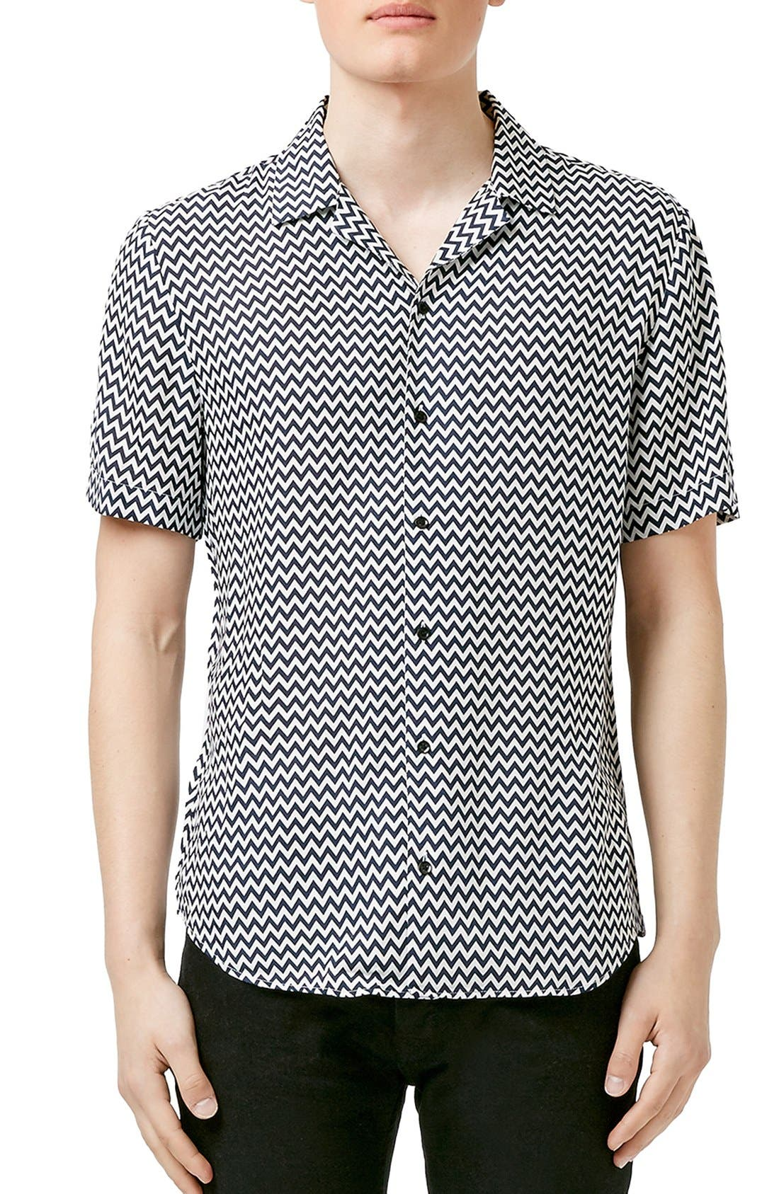 Main Image - Topman Zigzag Print Short Sleeve Revere Collar Shirt