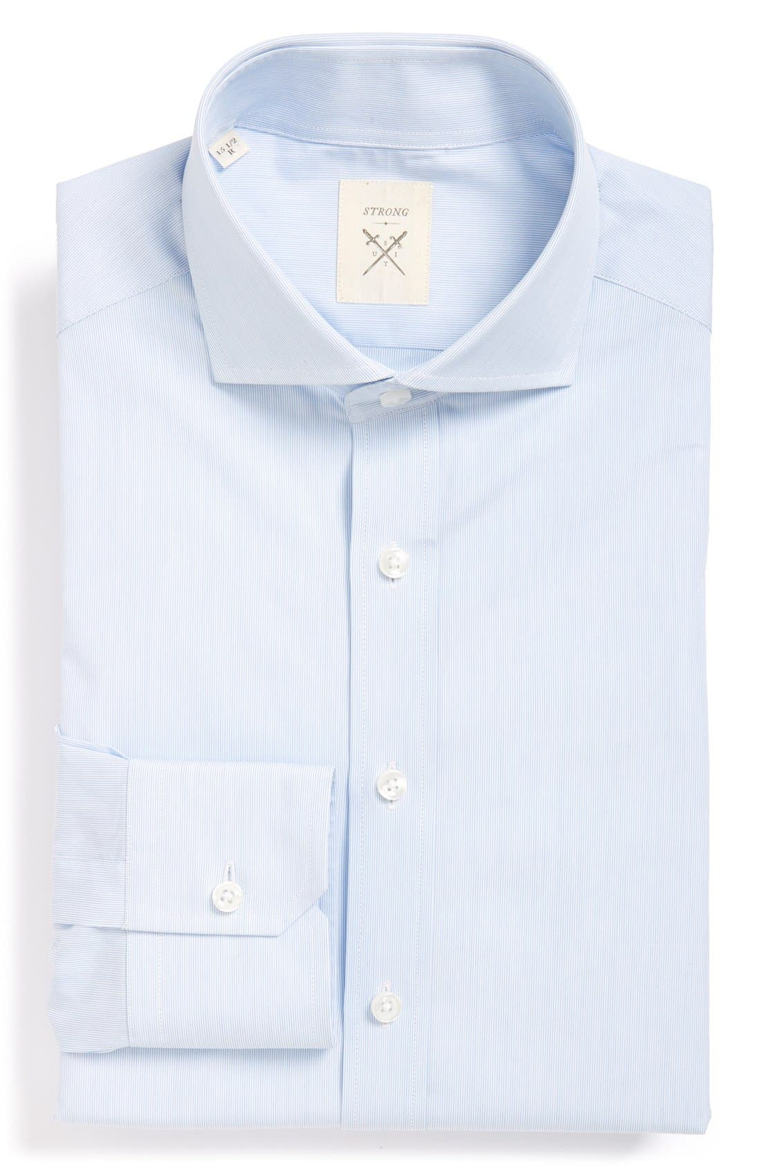 'Elan' Trim Fit Stripe Dress Shirt,                             Main thumbnail 1, color,                             Blue Mini Stripe