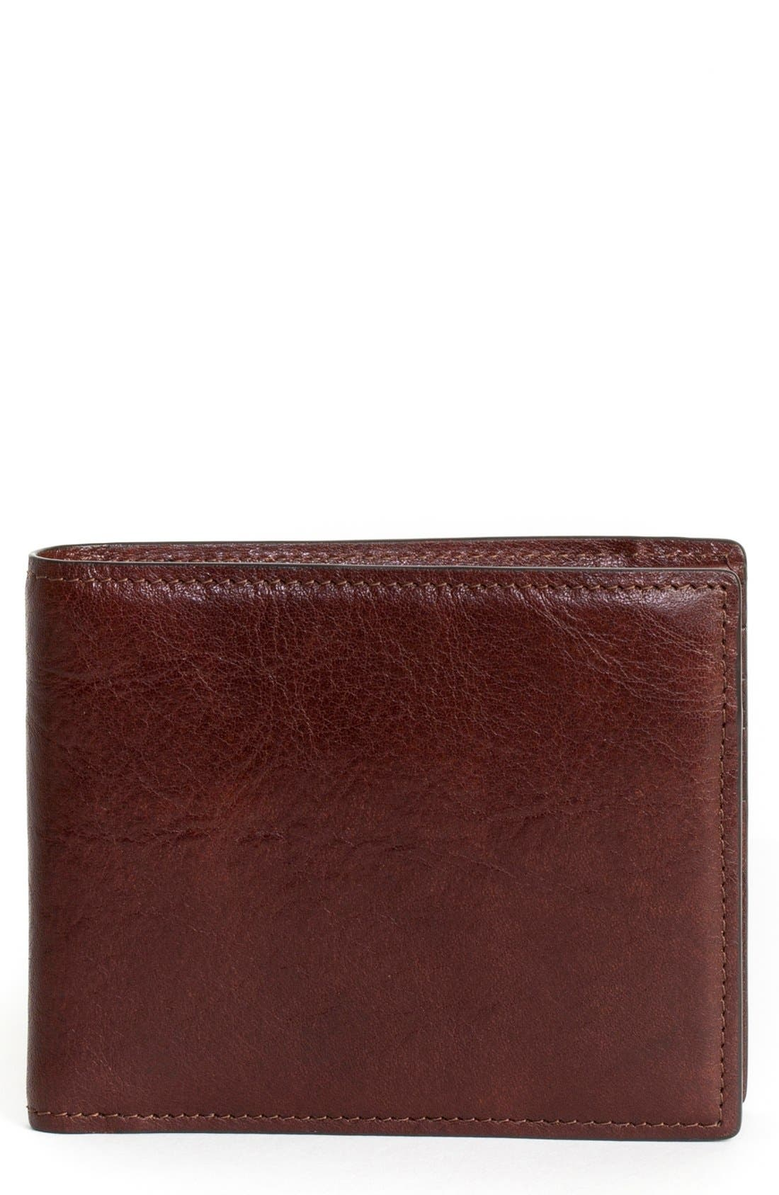 'Becker' Leather Wallet,                             Main thumbnail 1, color,                             Whiskey