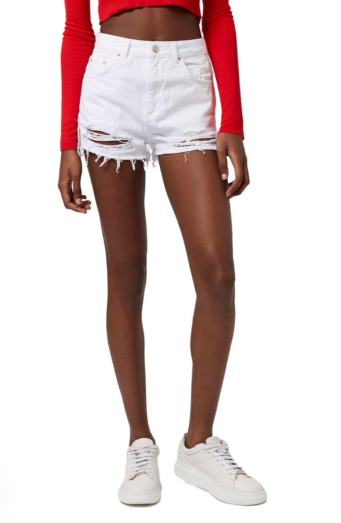 Alternate Image 1 Selected - Topshop High Rise Ripped Denim Shorts