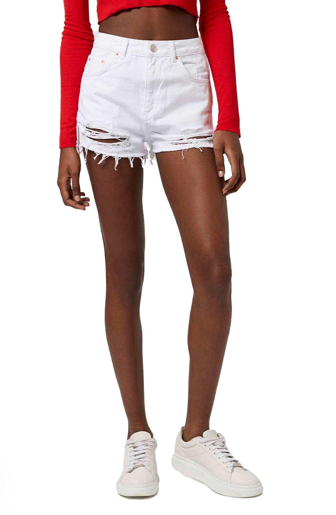 High Rise Ripped Denim Shorts,                         Main,                         color, White