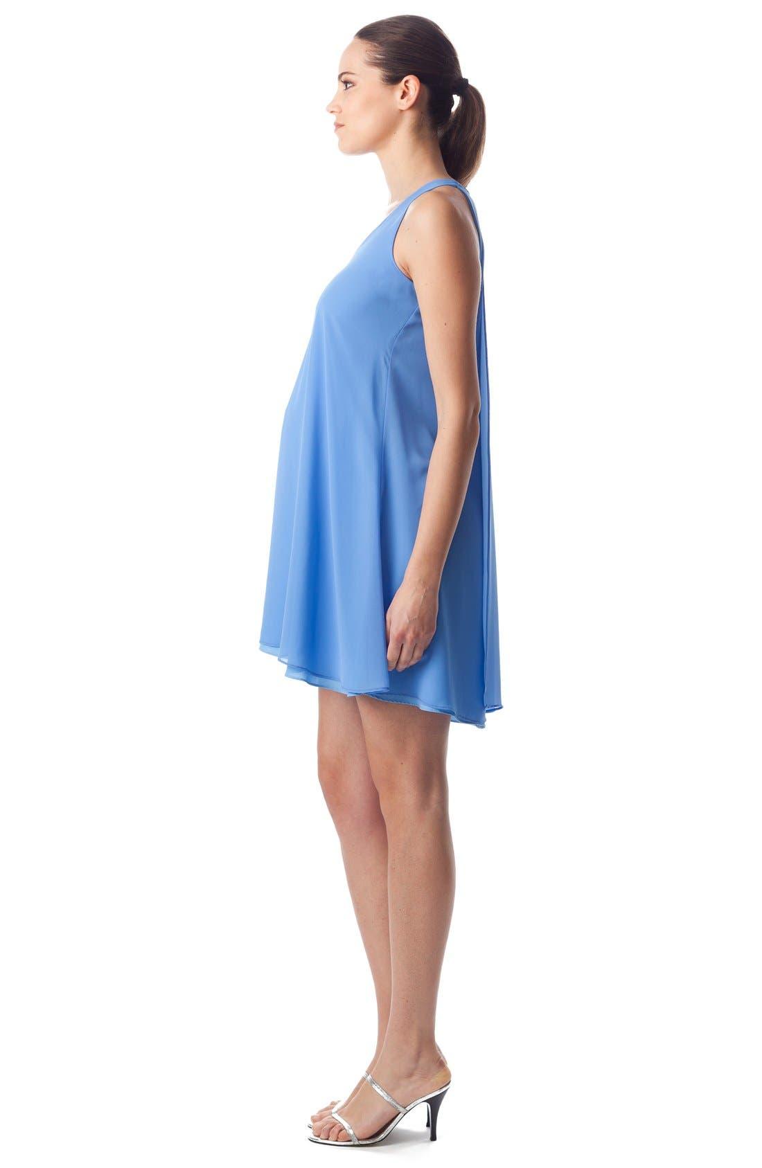 'Lago Di Como' High/Low Maternity Dress,                             Alternate thumbnail 3, color,                             Provence / Light Azure