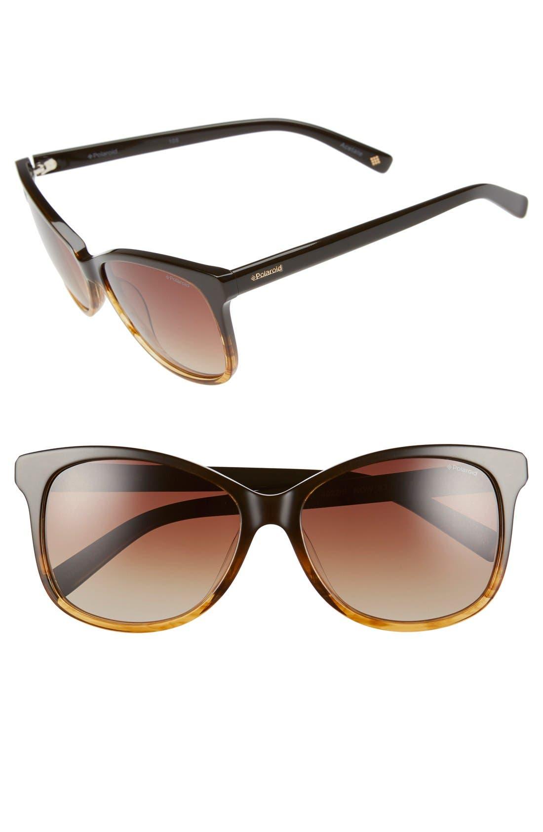 57mm Polarized Cat Eye Sunglasses,                         Main,                         color, Brown Honey/ Brown Polarized