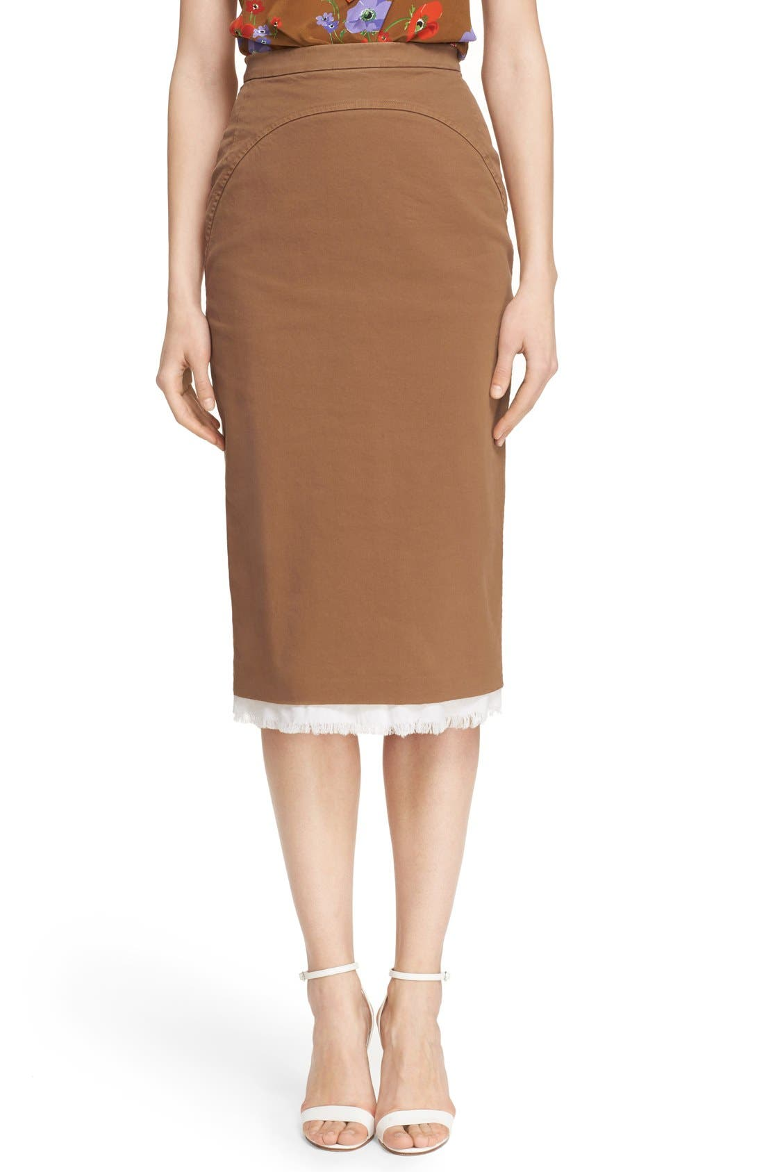 Main Image - Nº21 'Lison' Frayed Hem Khaki Pencil Skirt