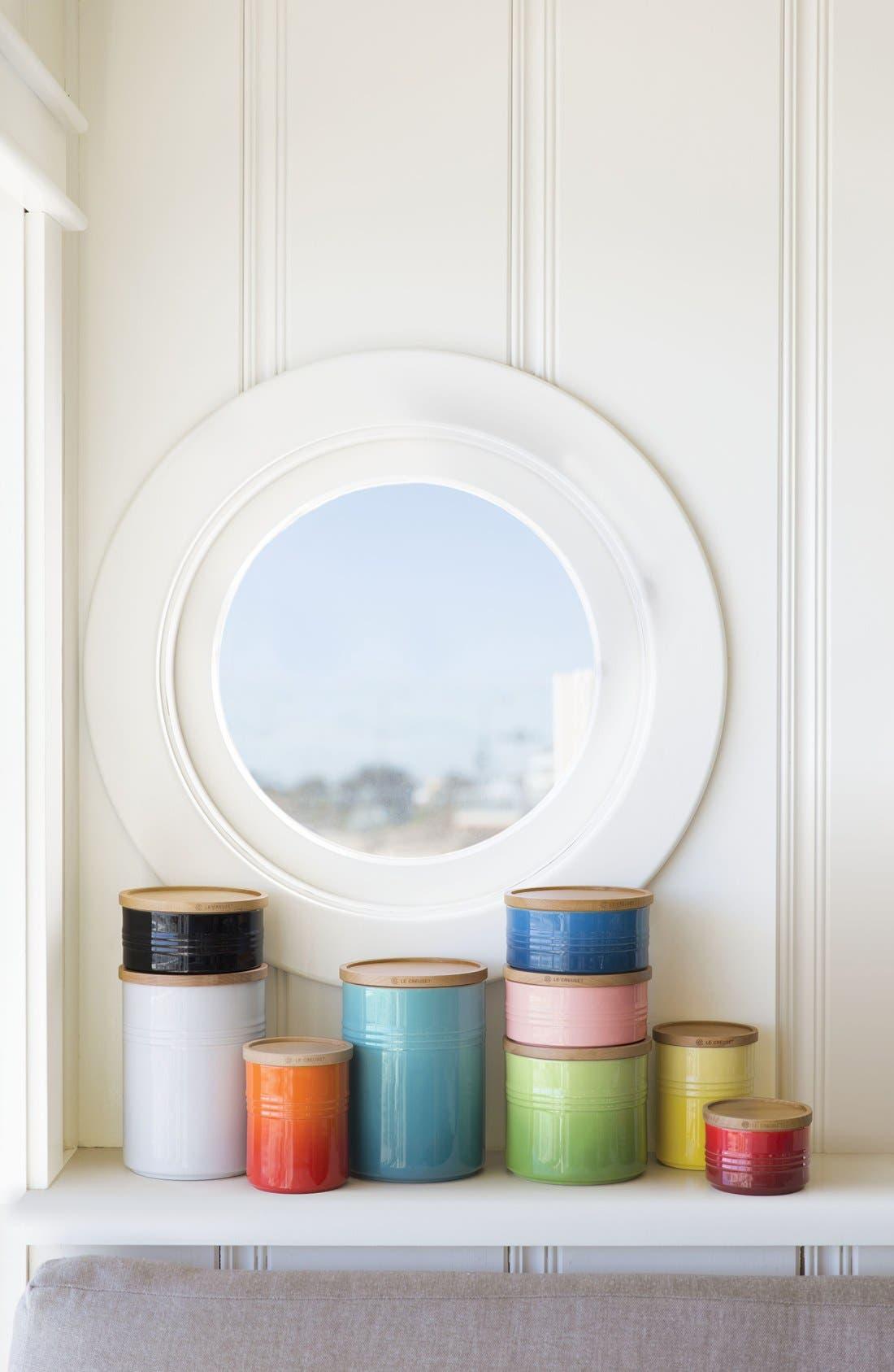 Alternate Image 2  - Le Creuset Glazed Stoneware 1 1/2 Quart Storage Canister with Wooden Lid