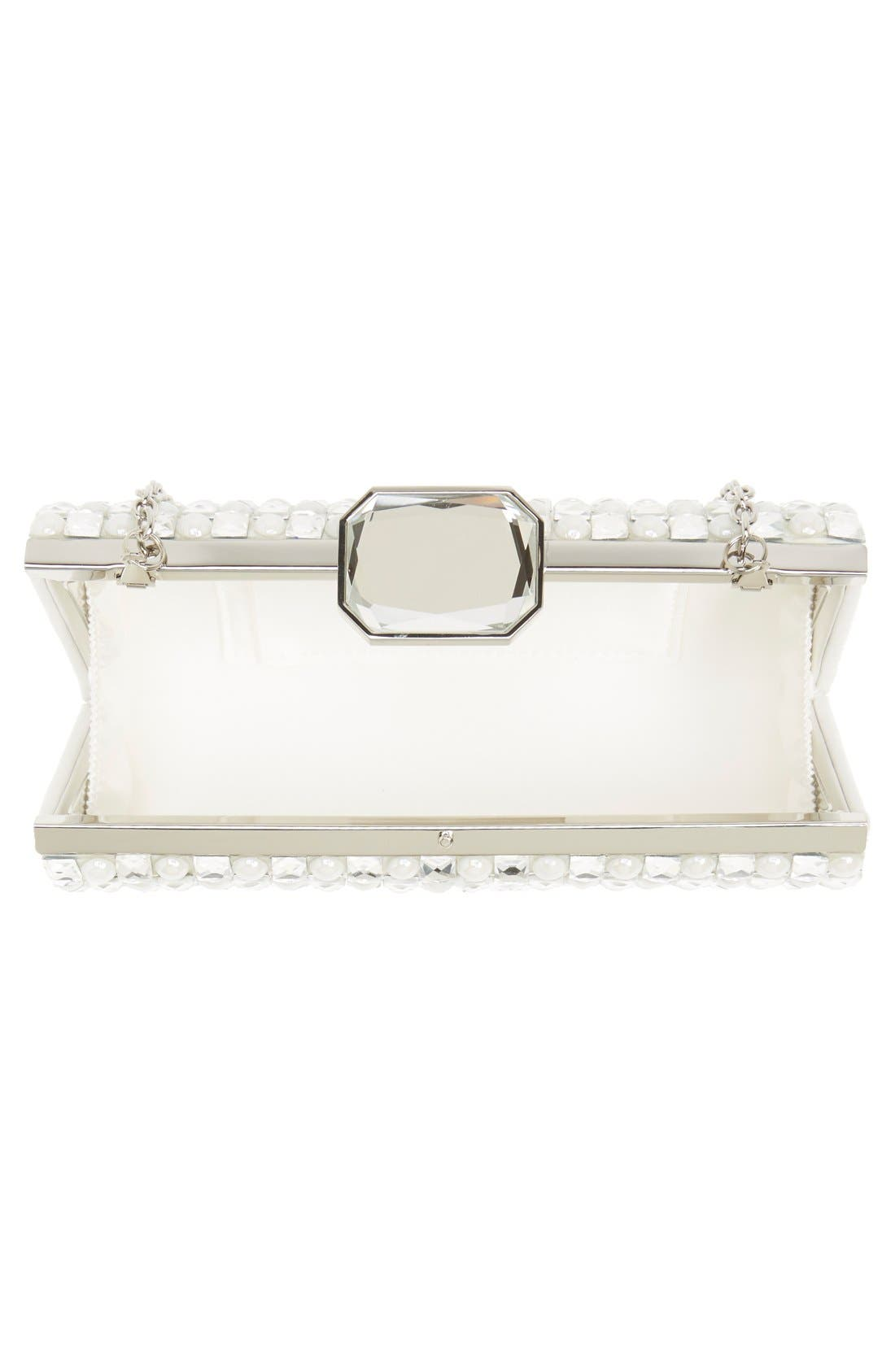 Crystal Clutch,                             Alternate thumbnail 4, color,                             Silver/White