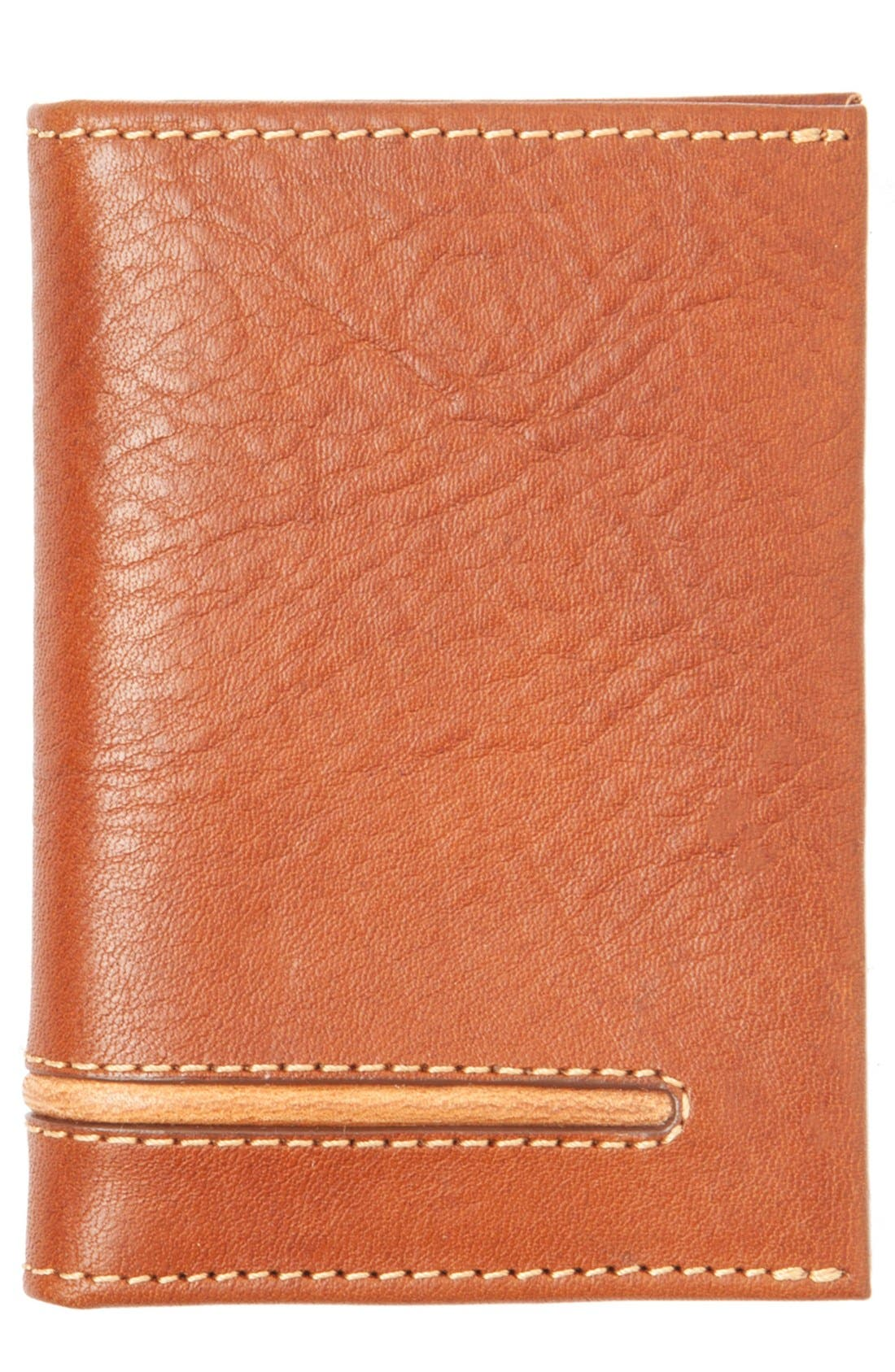Leather Money Clip Card Case,                         Main,                         color, Brown