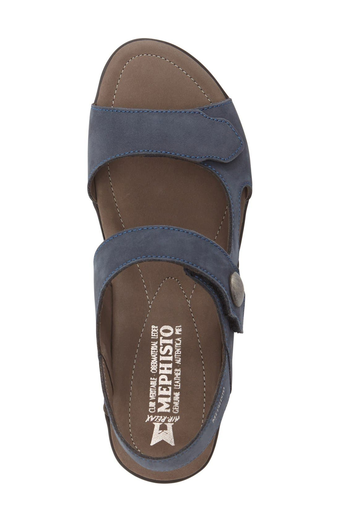 'Prudy' Leather Sandal,                             Alternate thumbnail 3, color,                             Navy Nubuck Leather