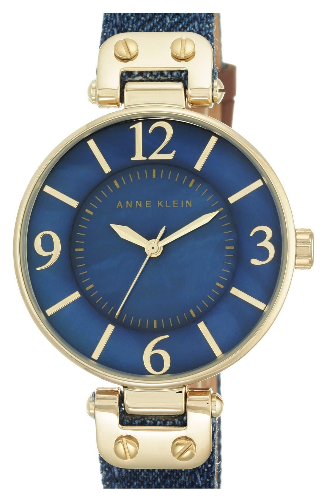 Alternate Image 1 Selected - Anne Klein Denim Strap Watch, 34mm