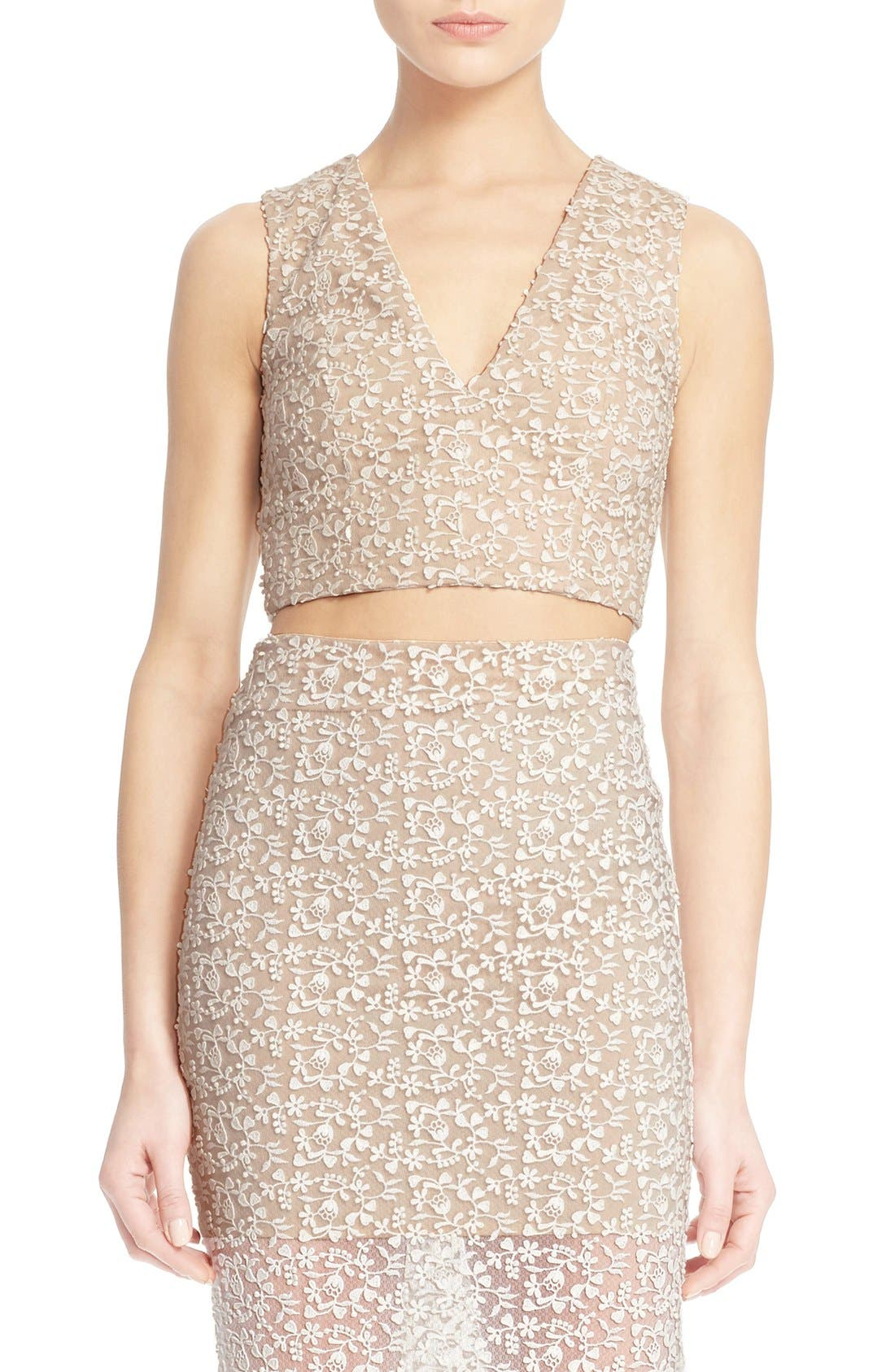 Main Image - Alice + Olivia 'Jaya' Illusion Lace V-Neck Crop Top
