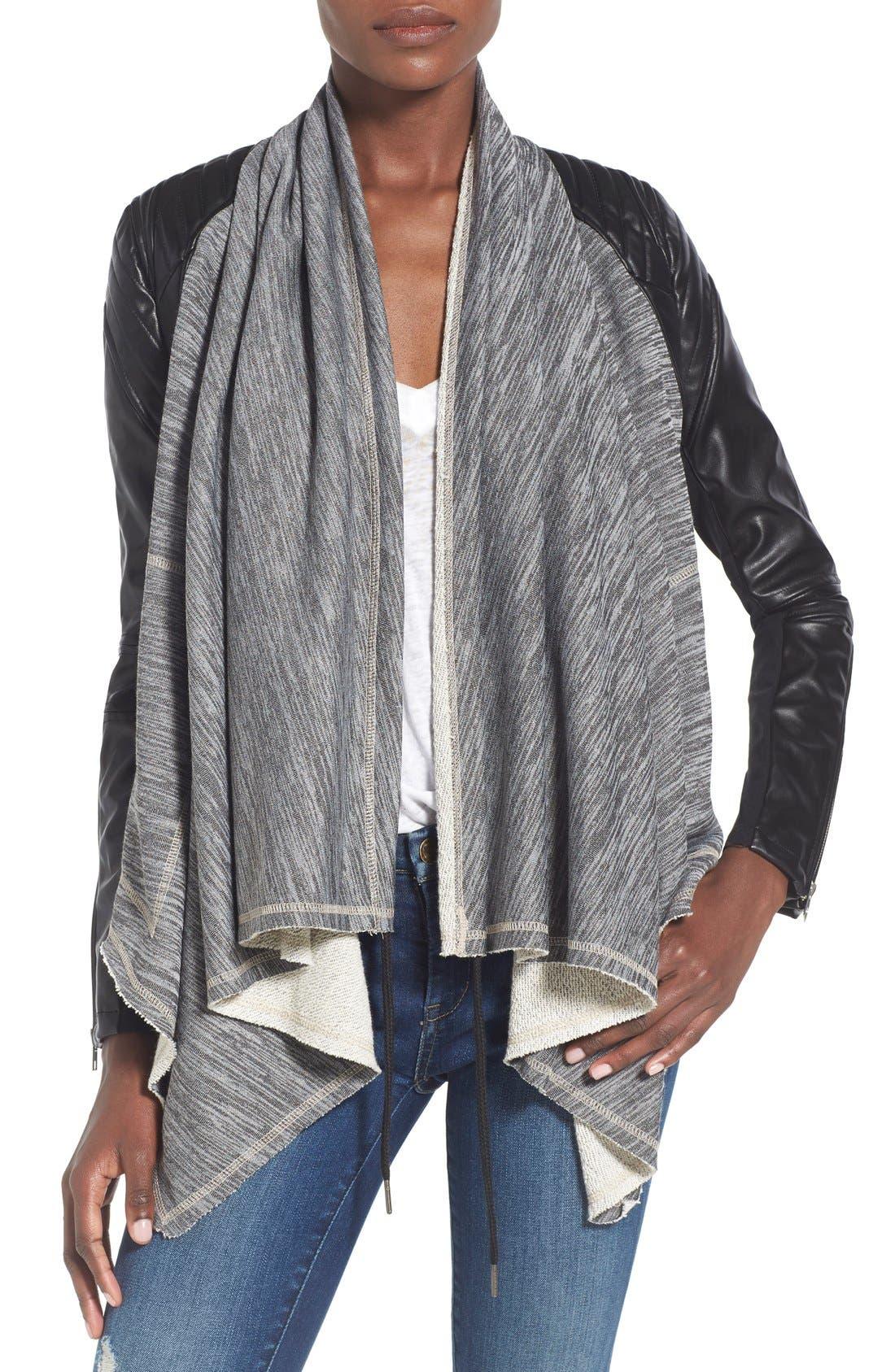 Alternate Image 1 Selected - BLANKNYC 'Dating & Waiting' Drape Front Jacket
