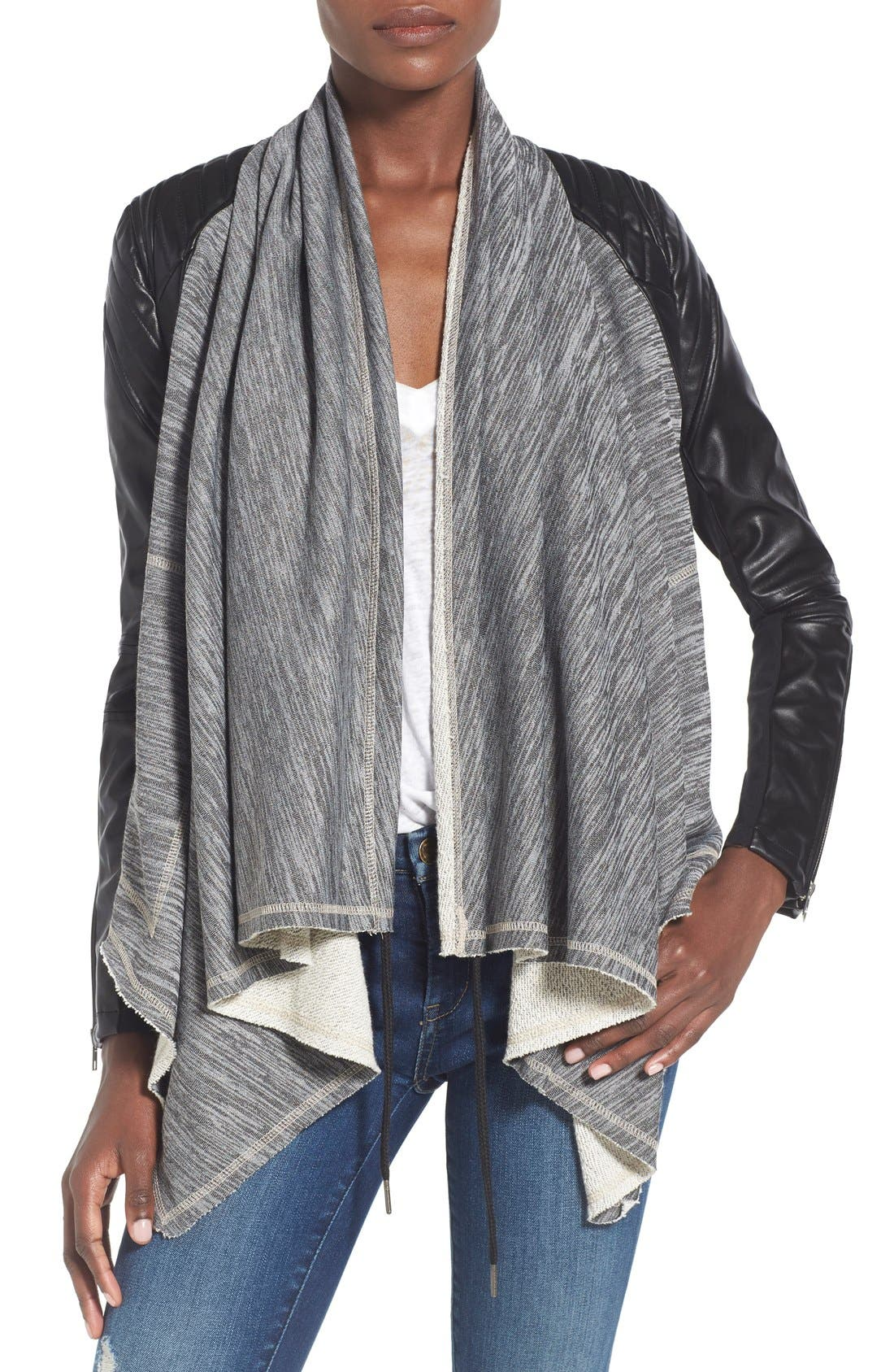 Main Image - BLANKNYC 'Dating & Waiting' Drape Front Jacket