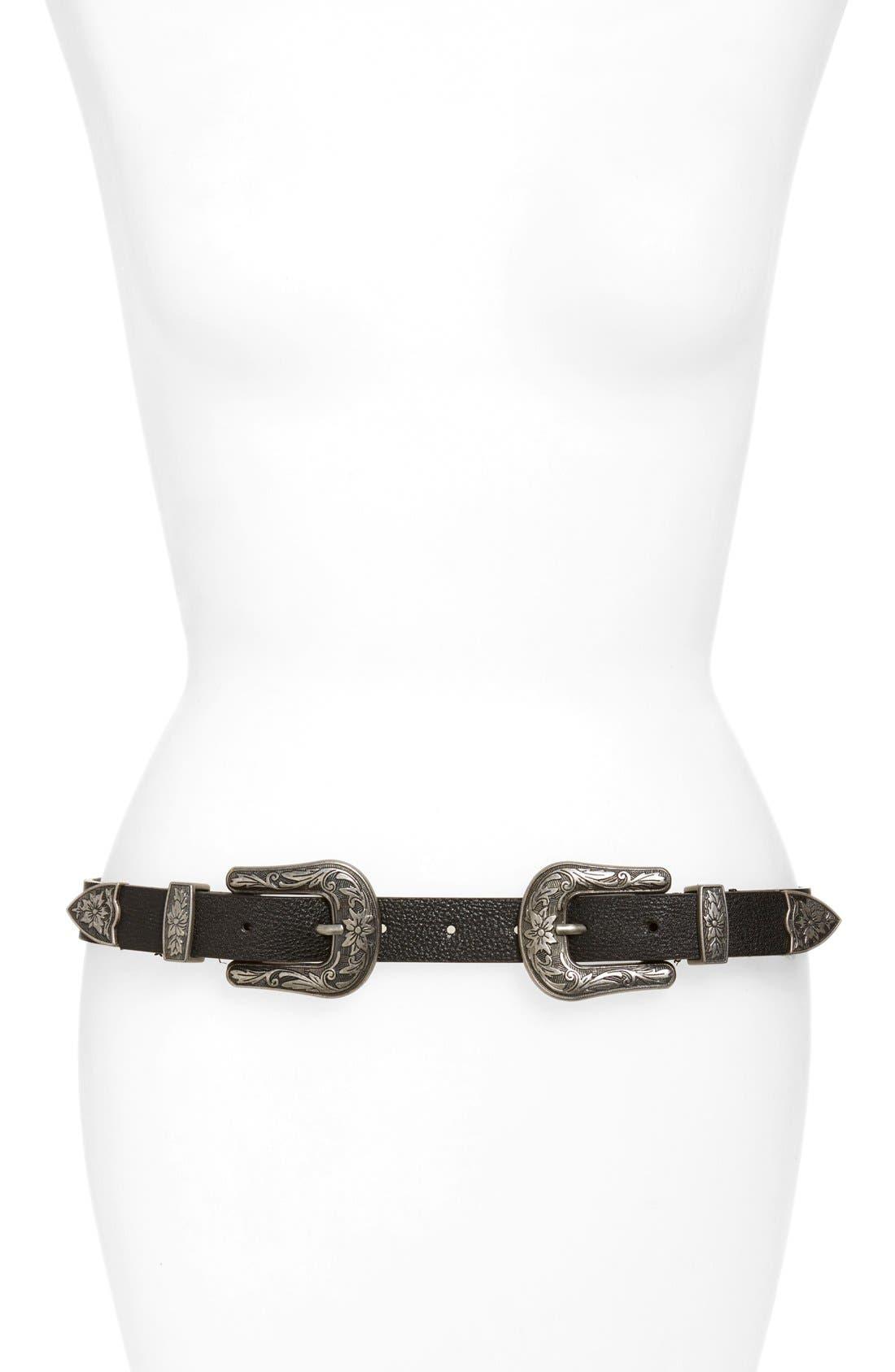 Double Buckle Belt,                         Main,                         color, Black/ Silver