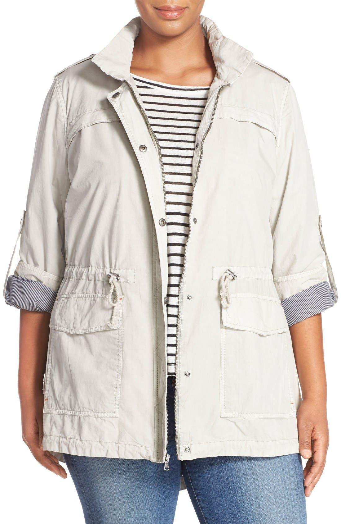 Parachute Hooded Cotton Utility Jacket,                         Main,                         color, Moonbeam