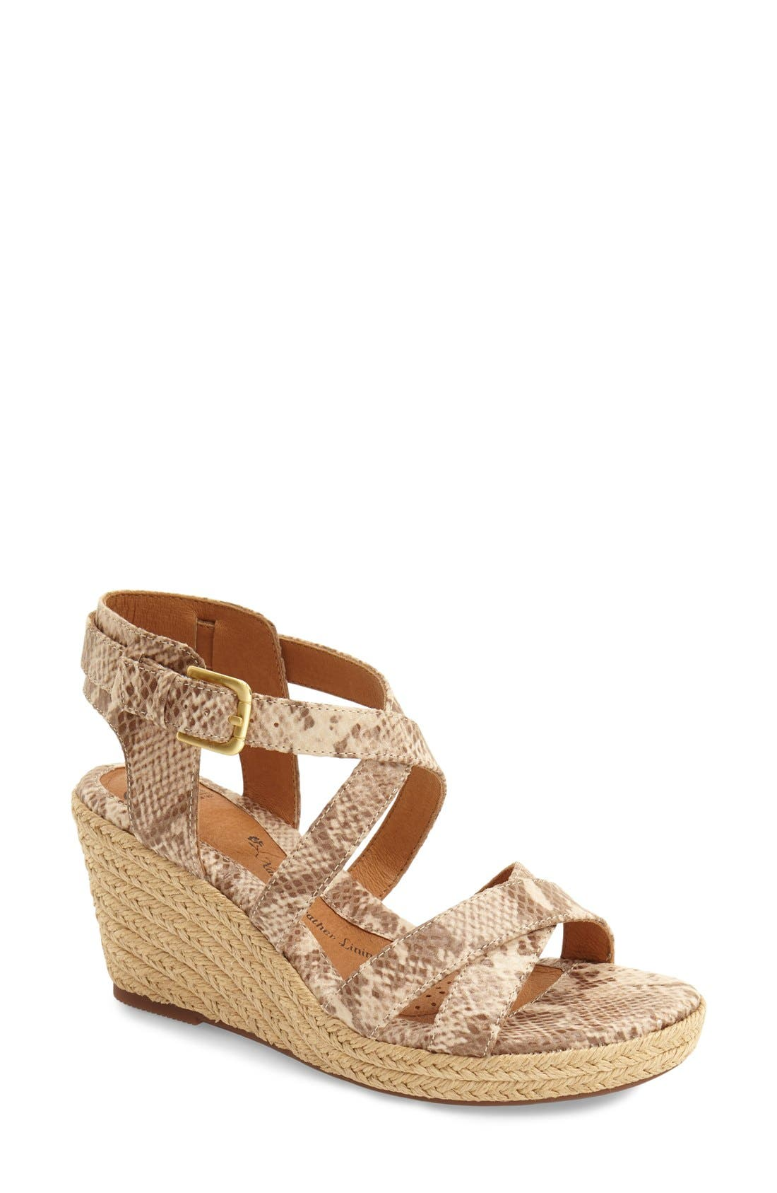 'Inez' Wedge Sandal,                             Main thumbnail 1, color,                             Sand Snake Print Leather