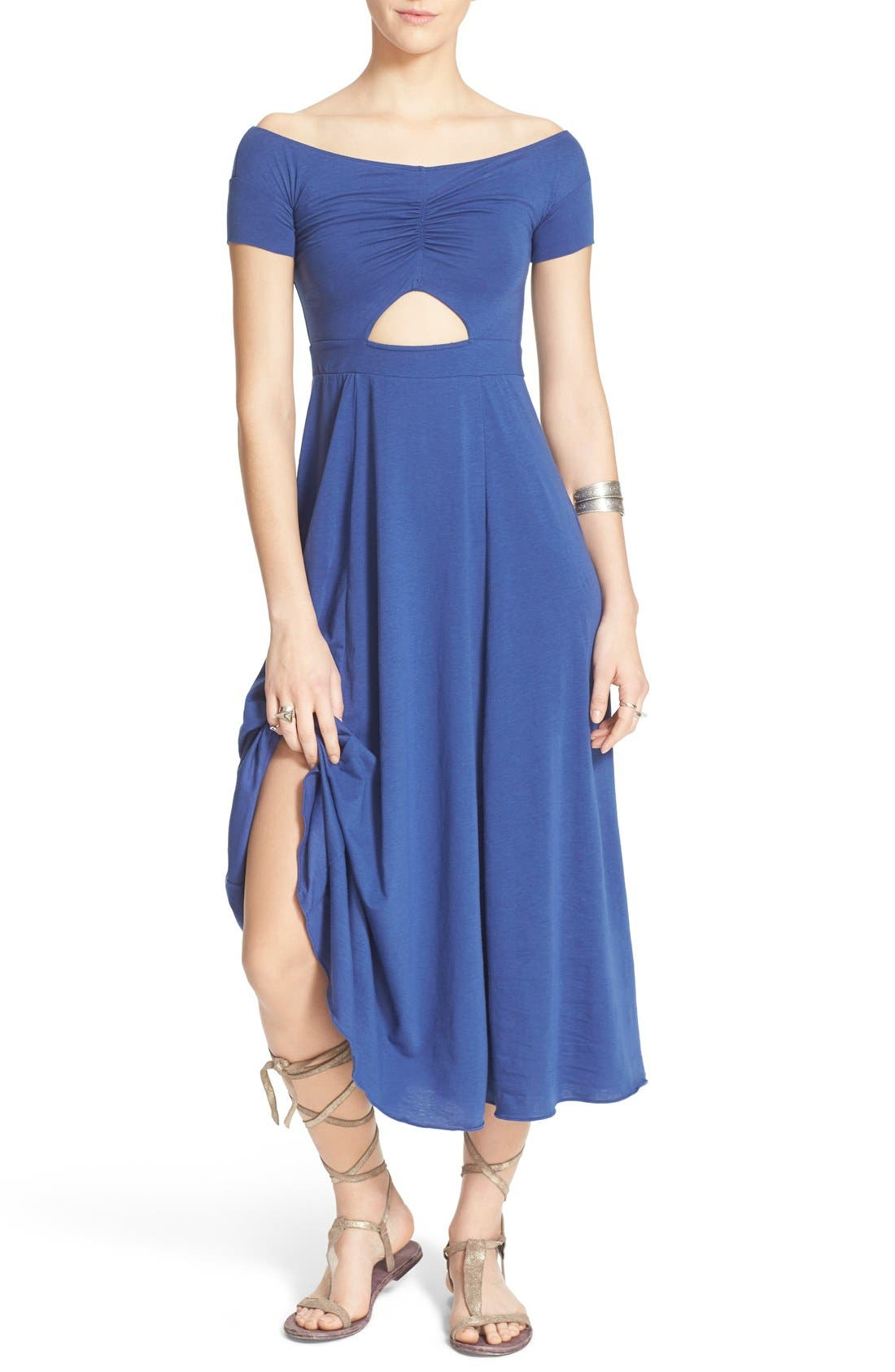 Main Image - Free People 'Dance with Me' Off the Shoulder Fit & Flare Dress
