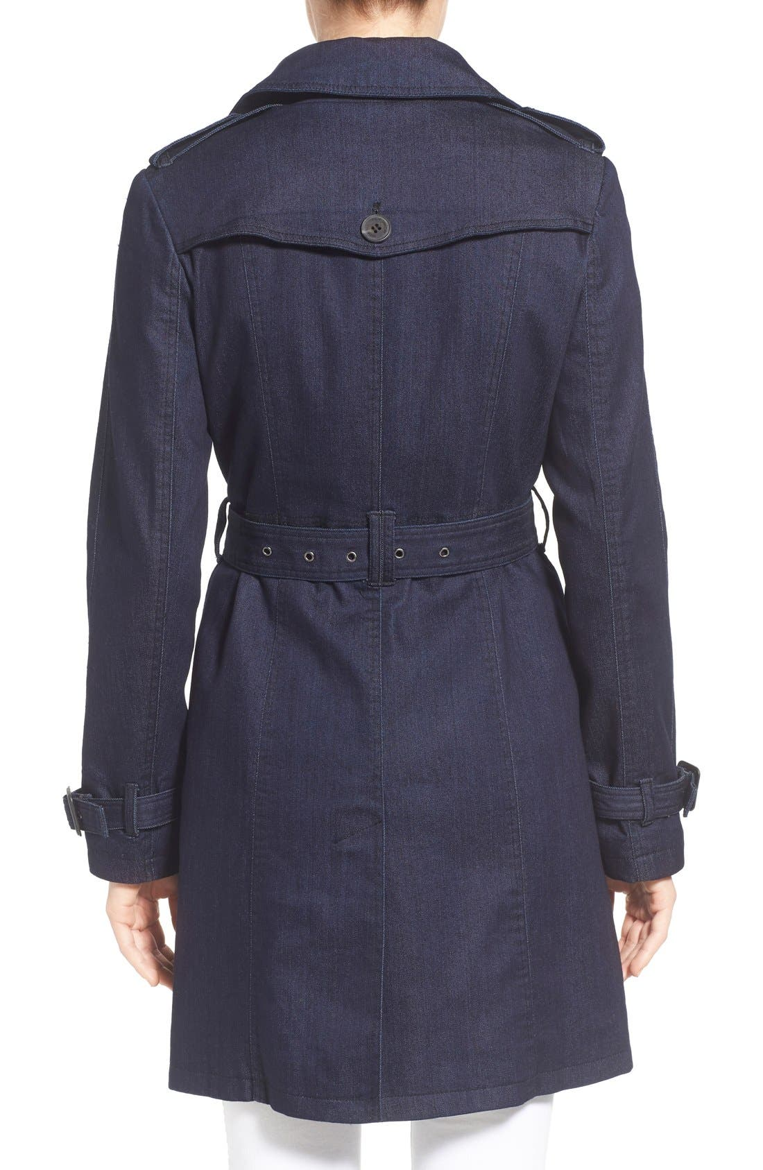 Alternate Image 2  - MICHAEL Michael Kors Double Breasted Denim Trench Coat