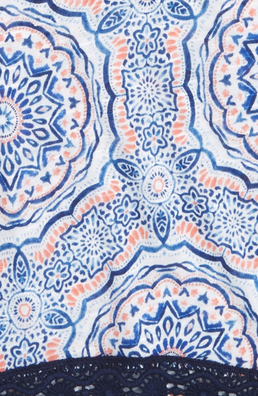 Print Crochet Trim Tee,                             Alternate thumbnail 2, color,                             Coral