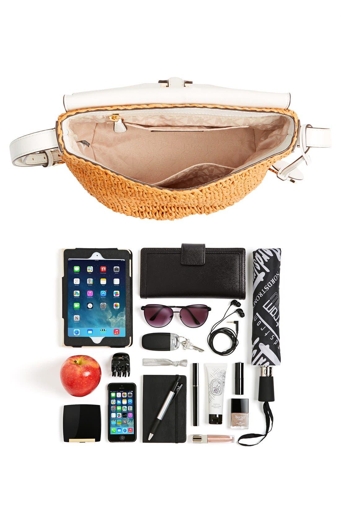 Alternate Image 7  - MICHAEL Michael Kors 'Medium Naomi' Straw & Leather Messenger Bag