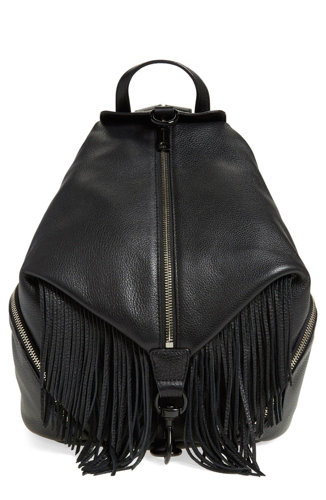 'Fringe Julian' Backpack,                             Main thumbnail 1, color,                             Black