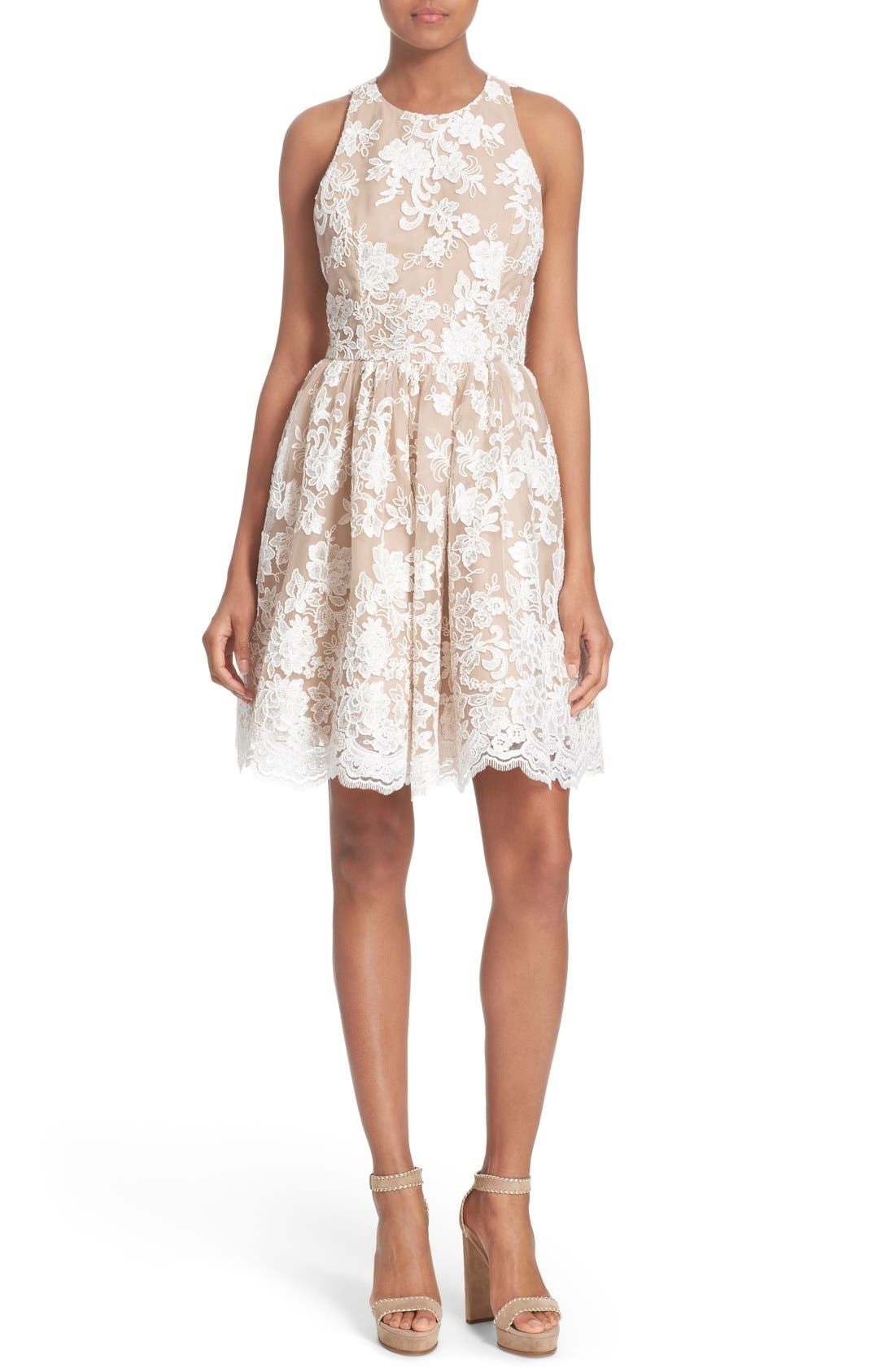 Main Image - Alice + Olivia 'Ladonna' Lace Fit & Flare Dress