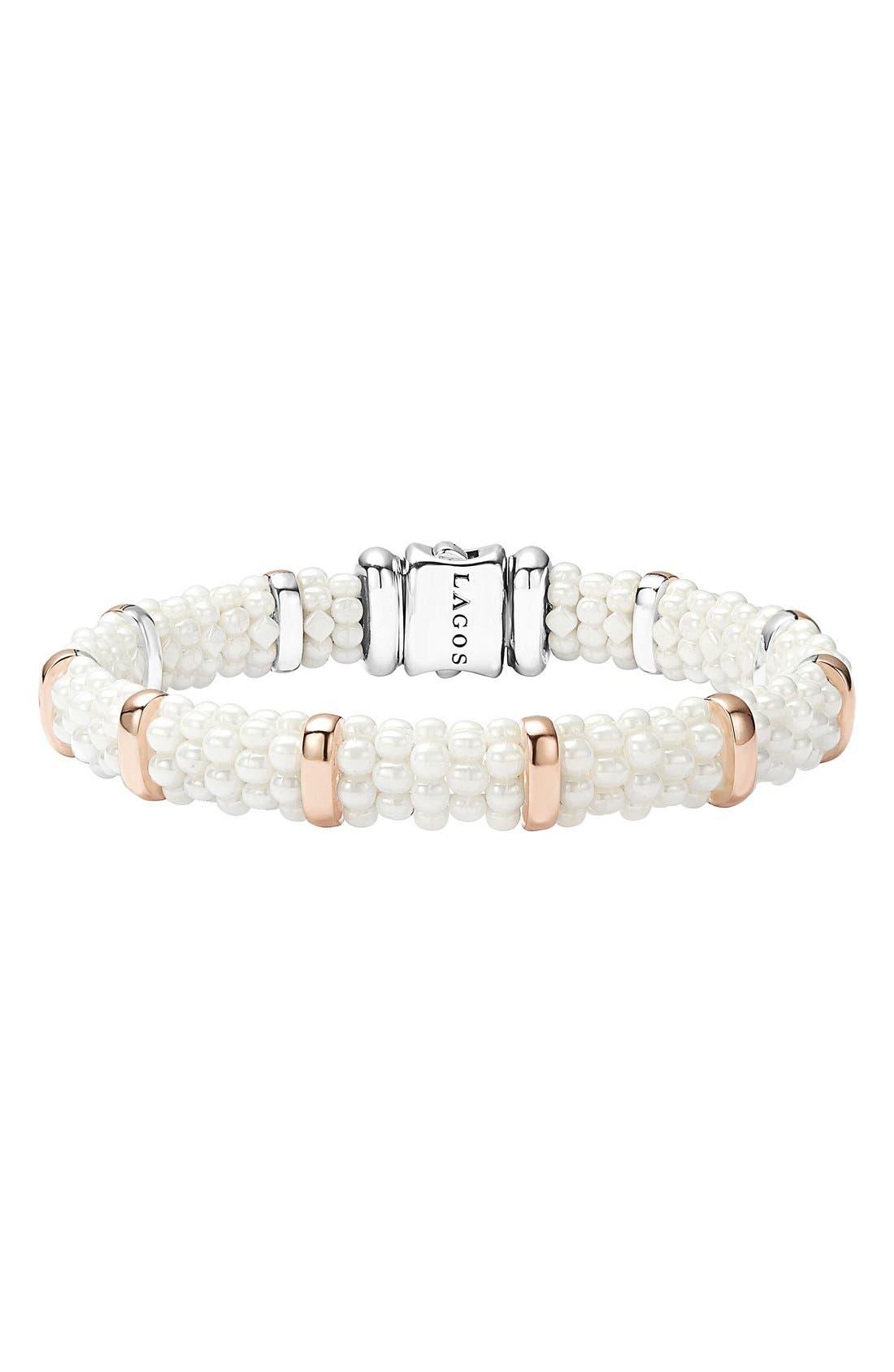 'White Caviar' Station Bracelet,                             Main thumbnail 1, color,                             White Caviar
