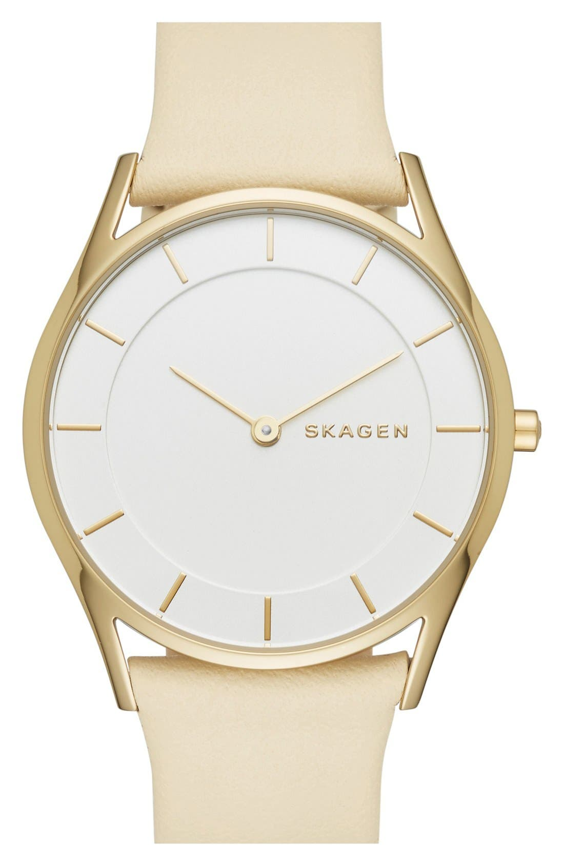 Alternate Image 1 Selected - Skagen 'Holst' Leather Strap Watch, 34mm