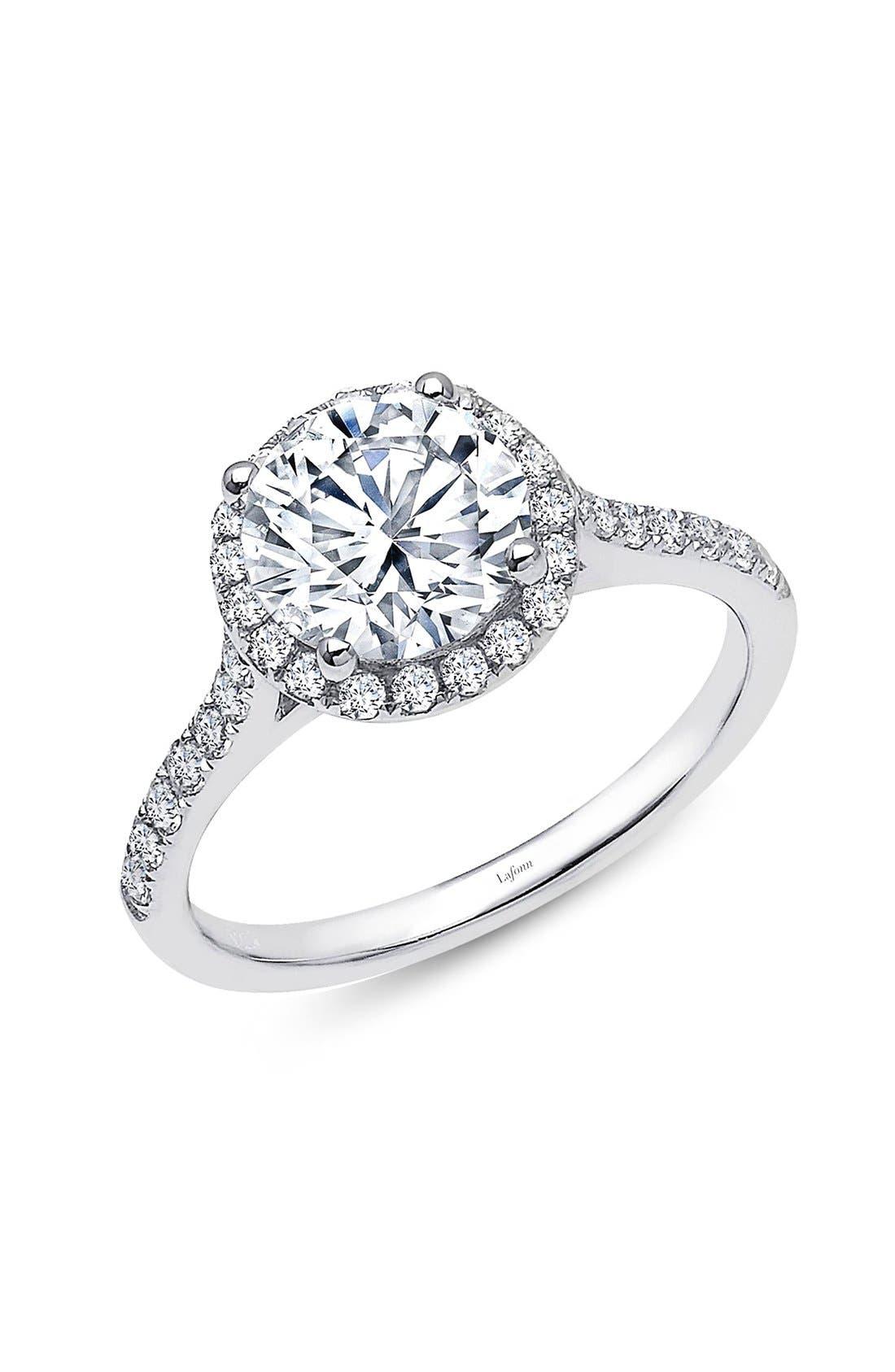 'Lassaire' Round Halo Ring,                         Main,                         color, Silver