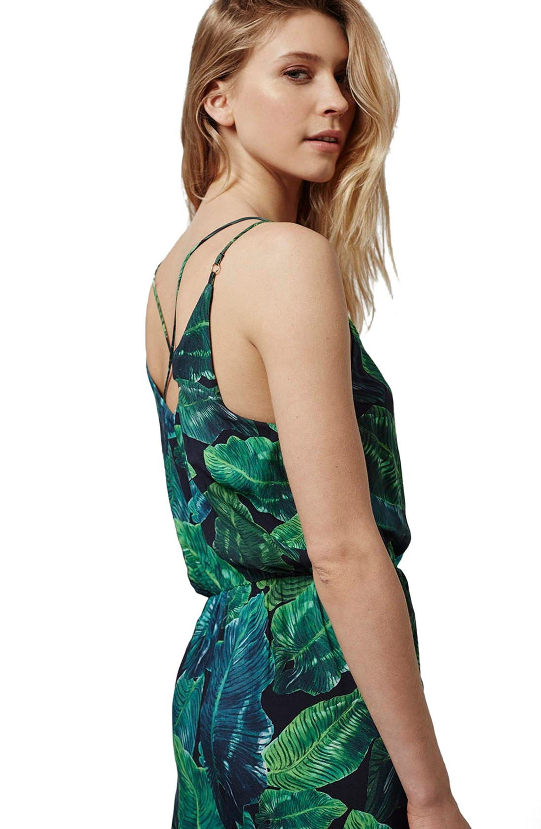 Alternate Image 4  - Topshop Palm Print Strappy Jumpsuit (Regular & Petite)