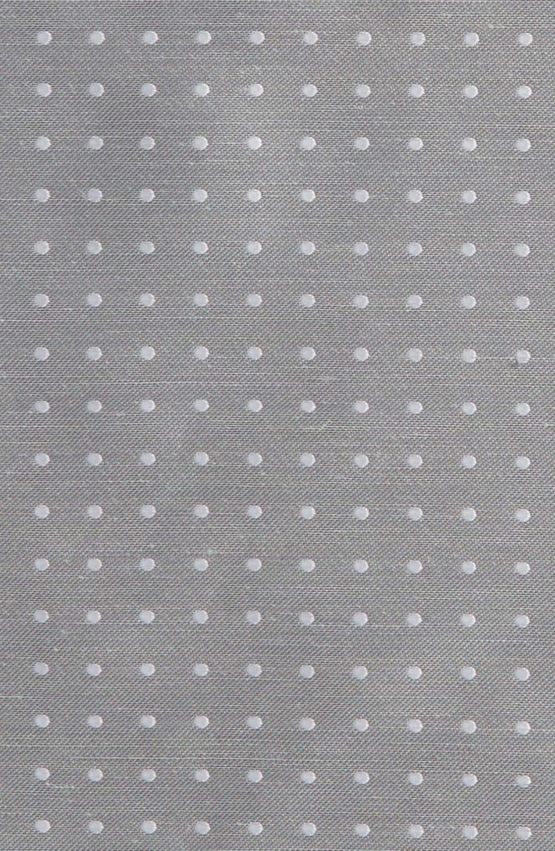 Dot Silk & Linen Pocket Square,                             Alternate thumbnail 3, color,                             Silver