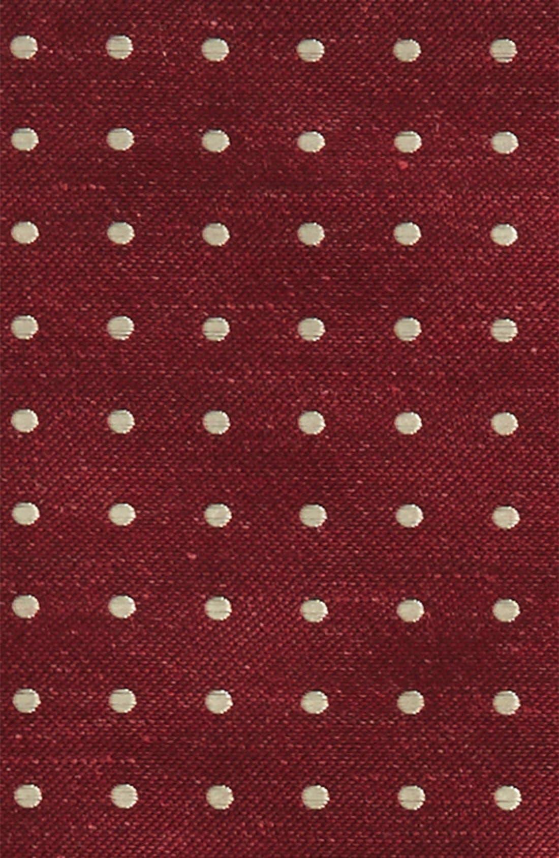 Dot Silk & Linen Pocket Square,                             Alternate thumbnail 3, color,                             Burgundy
