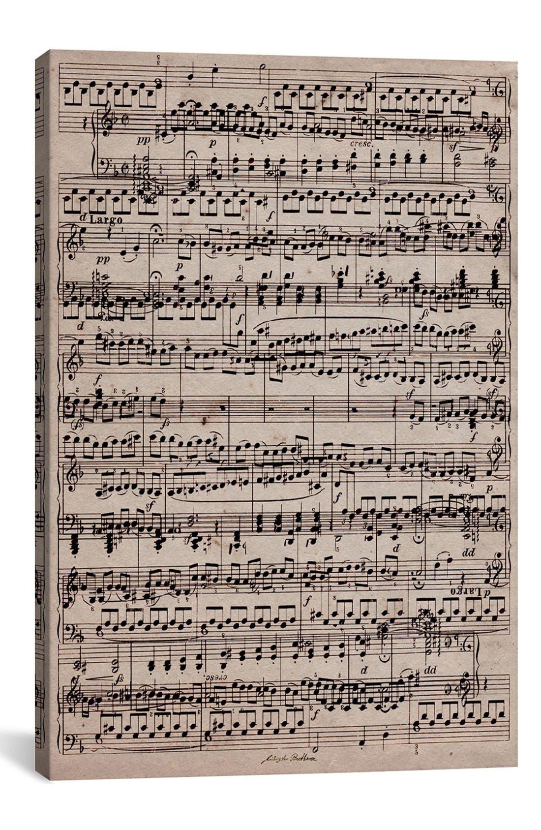 'Sheet Music' Giclée Print Canvas Art,                             Main thumbnail 1, color,                             Beige