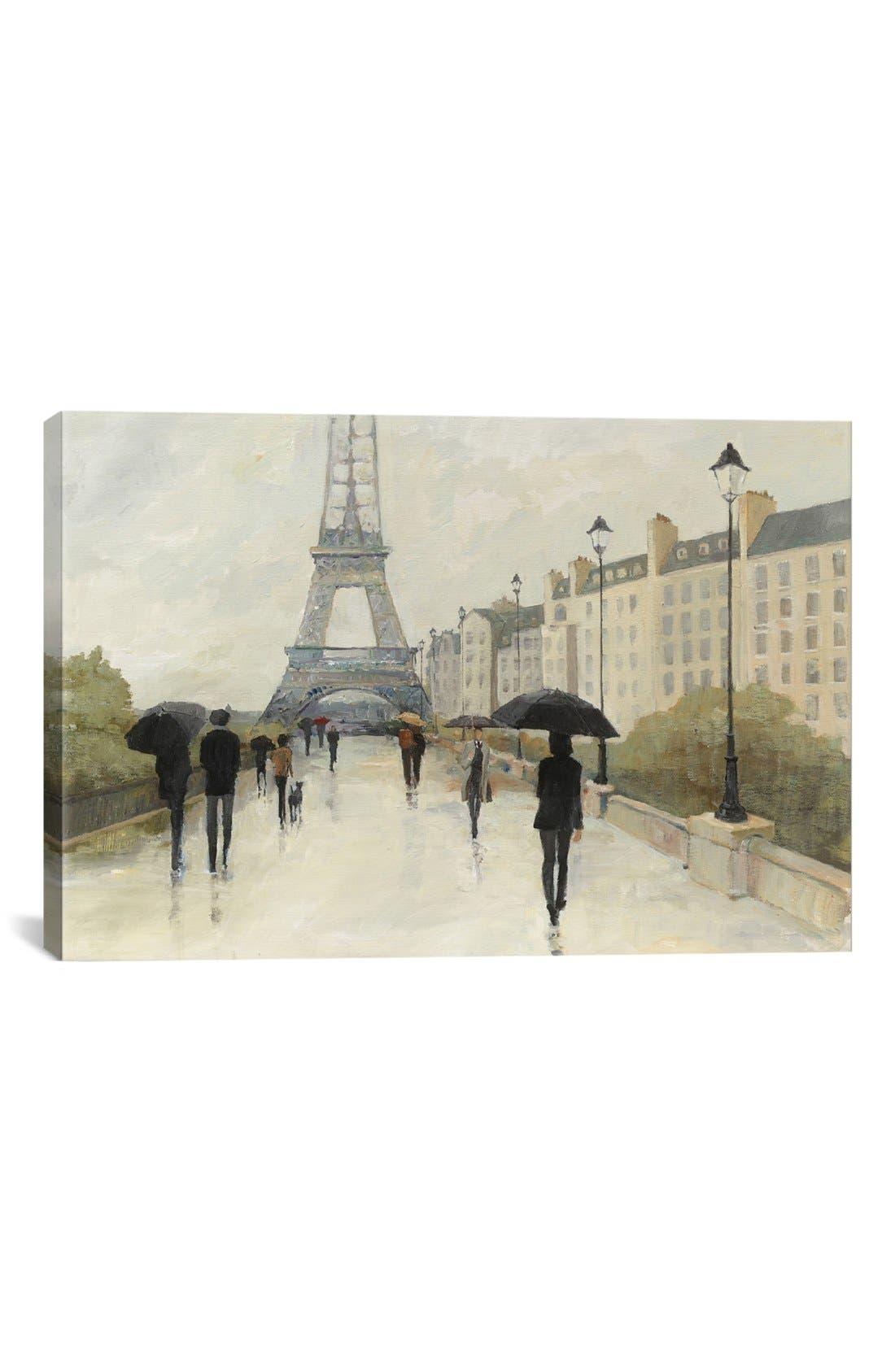 'Eiffel in the Rain' Giclée Print Canvas Art,                         Main,                         color, Grey