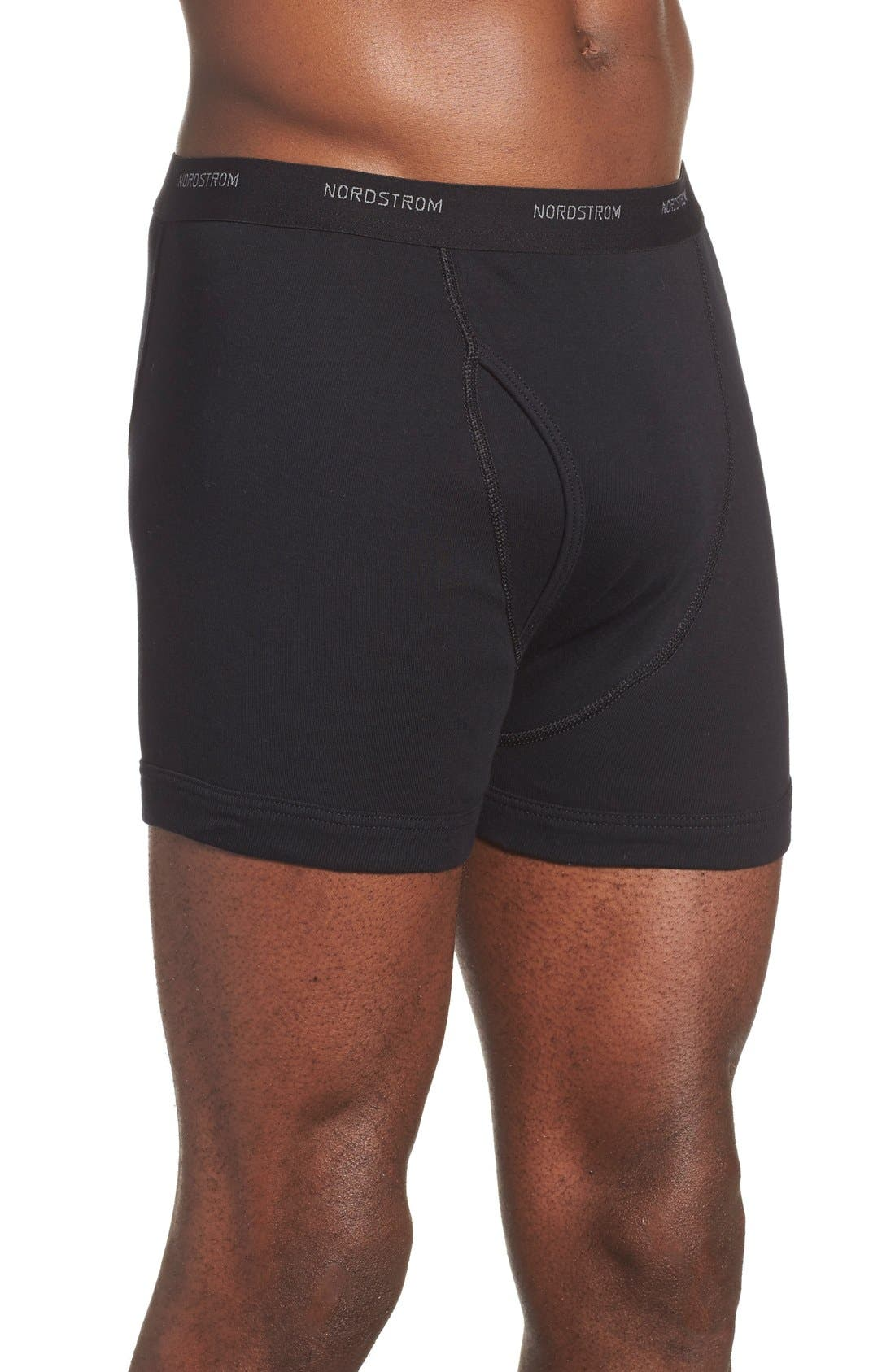 3-Pack Supima<sup>®</sup> Cotton Boxer Briefs,                             Alternate thumbnail 3, color,                             Black