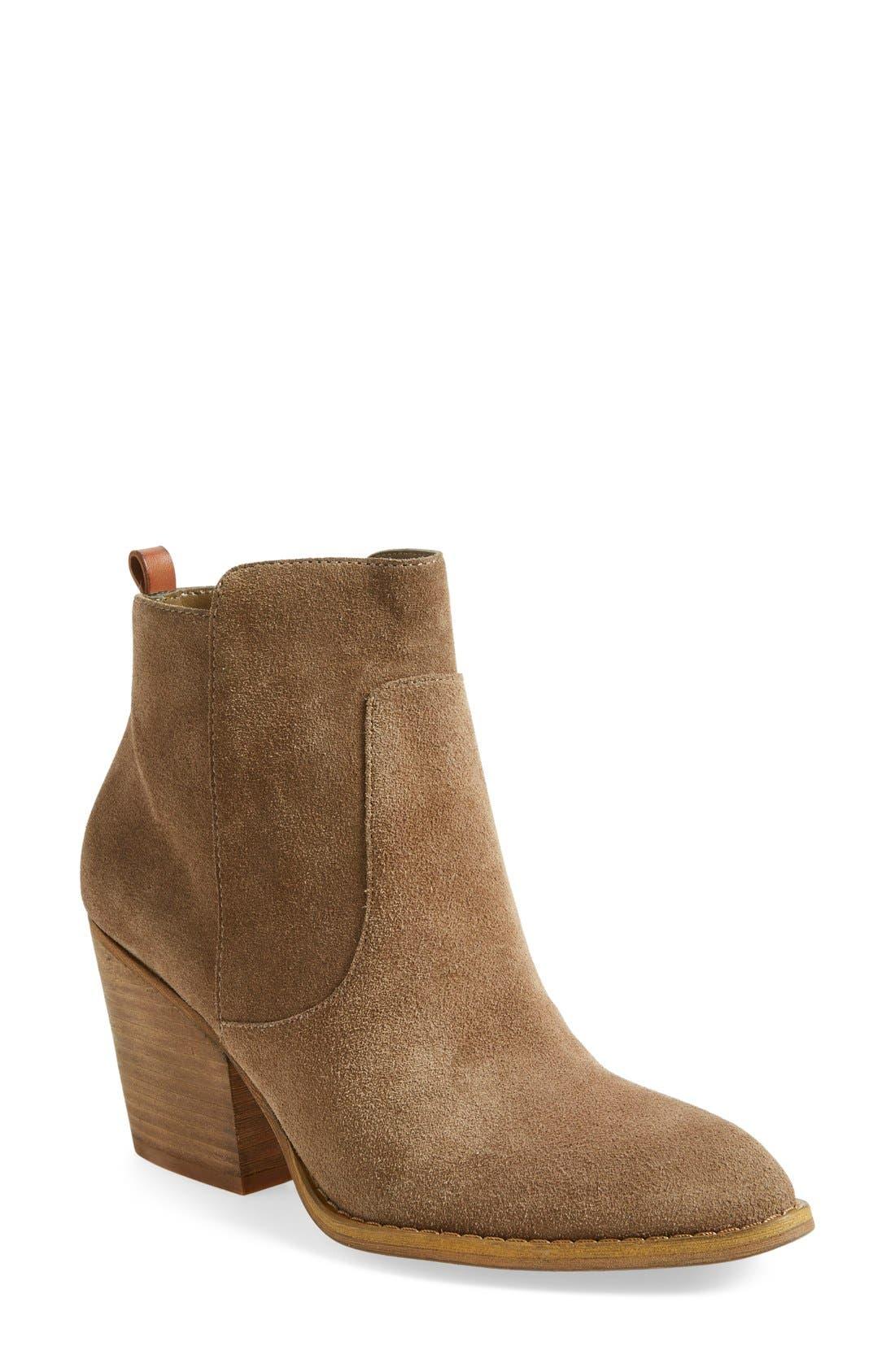 'Winsor' Block Heel Bootie,                         Main,                         color, Sand Suede