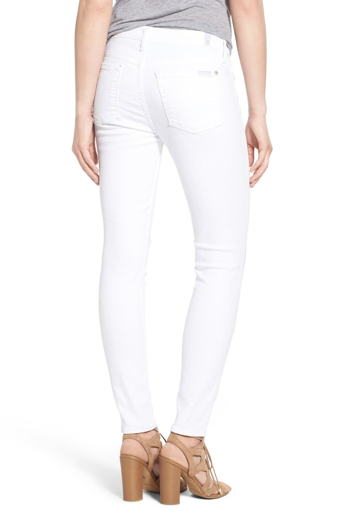 Alternate Image 2  - 7 For All Mankind® Destroyed Ankle Skinny Jeans (Clean White)