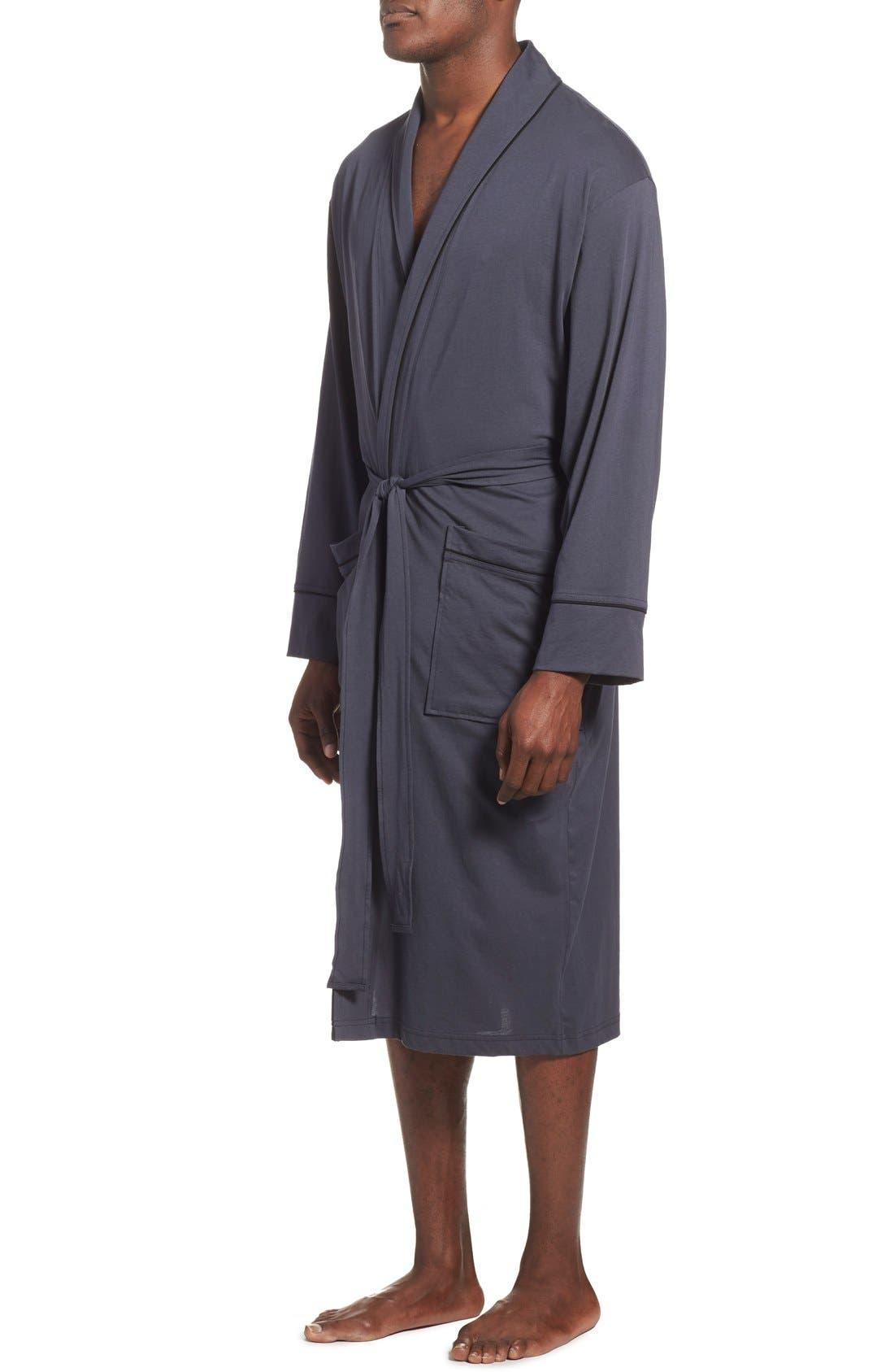 Peruvian Pima Cotton Robe,                             Alternate thumbnail 3, color,                             Ink