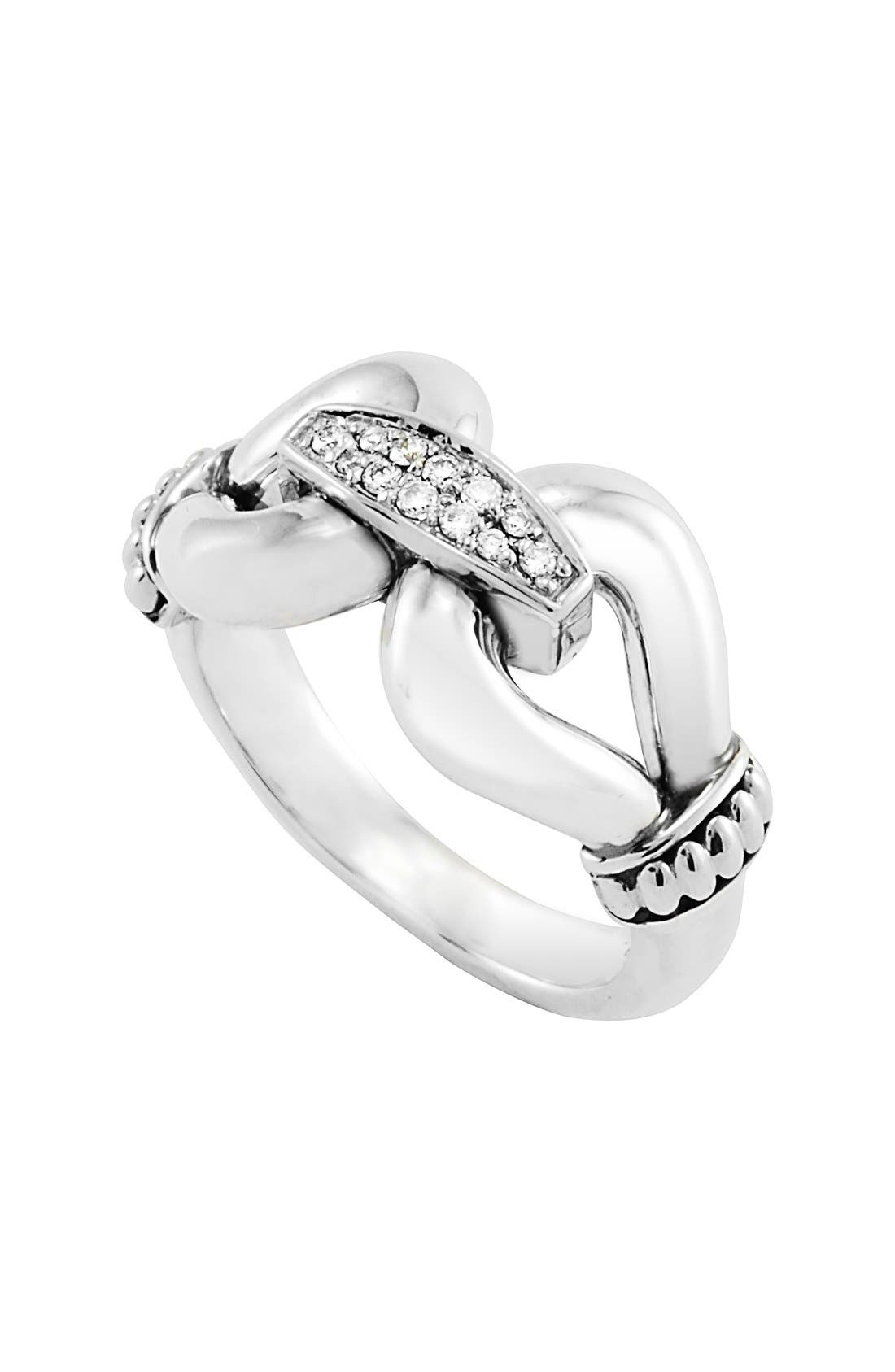 'Derby' Large Diamond Ring,                         Main,                         color, Sterling Silver