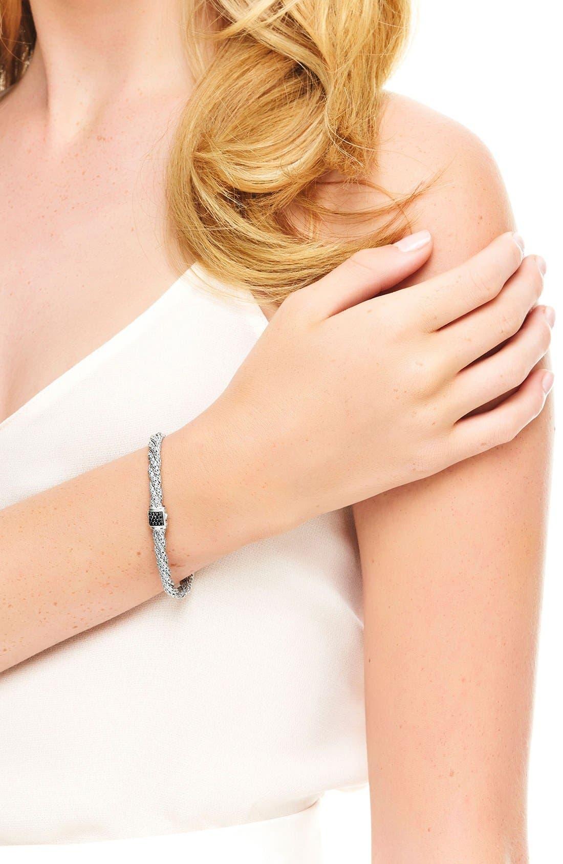 'Classic Cable' Twisted Chain Bracelet,                             Alternate thumbnail 2, color,                             Silver/ Black Sapphire
