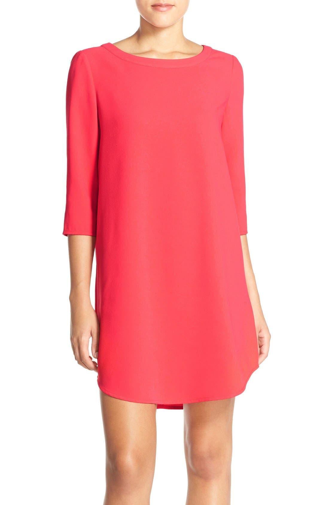 'Jazlyn' Crepe Shift Dress,                             Main thumbnail 1, color,                             Glow