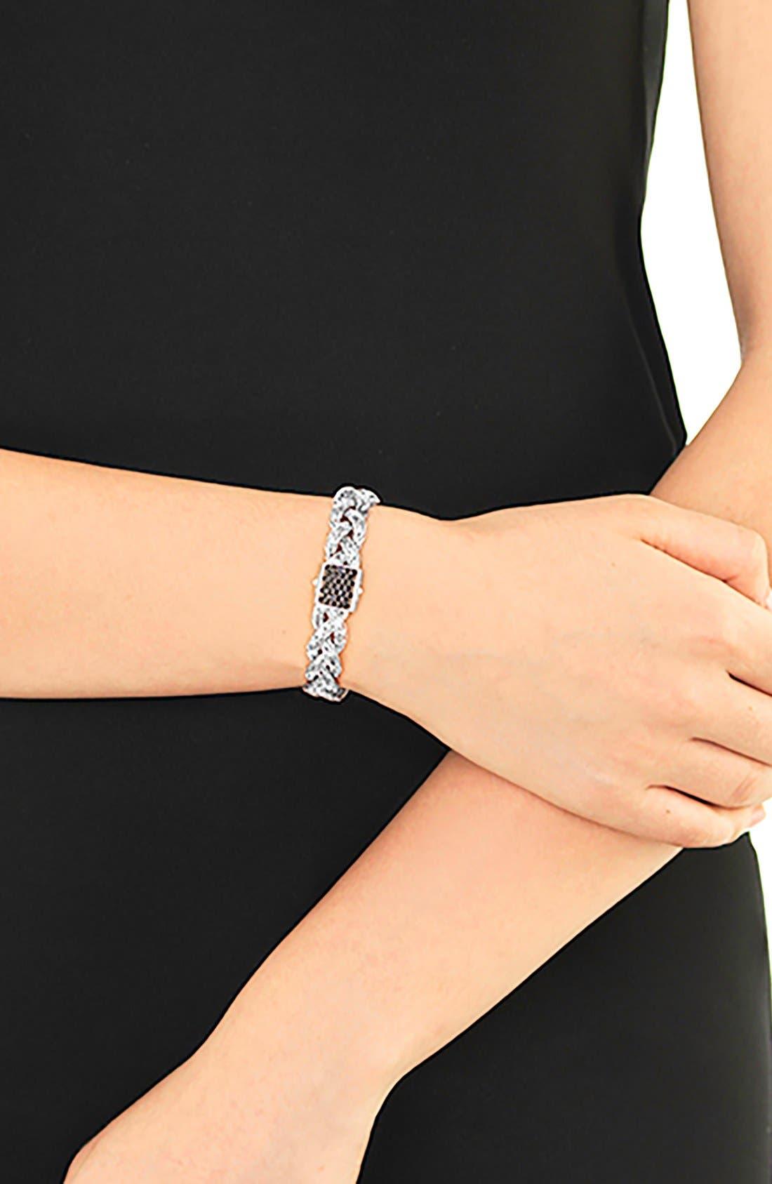 'Braided Chain' Semiprecious Stone Bracelet,                             Alternate thumbnail 2, color,                             Silver/ Black Sapphire