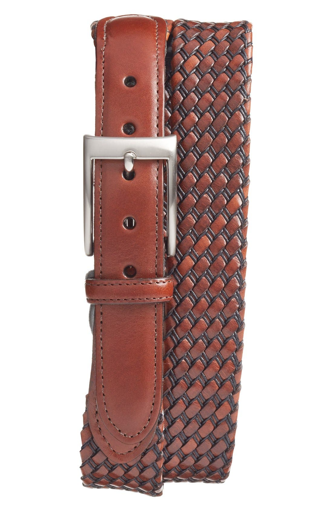 Woven Leather Belt,                         Main,                         color, Black/ Cognac