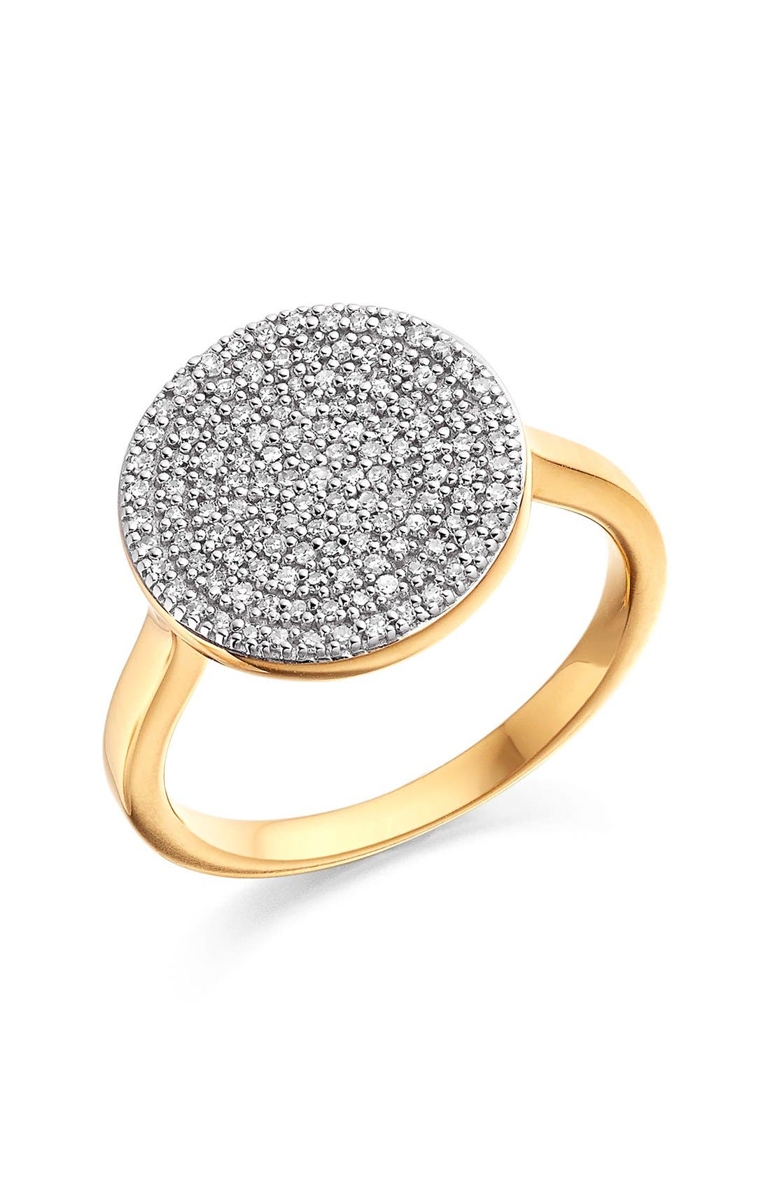 'Ava' Diamond Disc Ring,                         Main,                         color, Gold