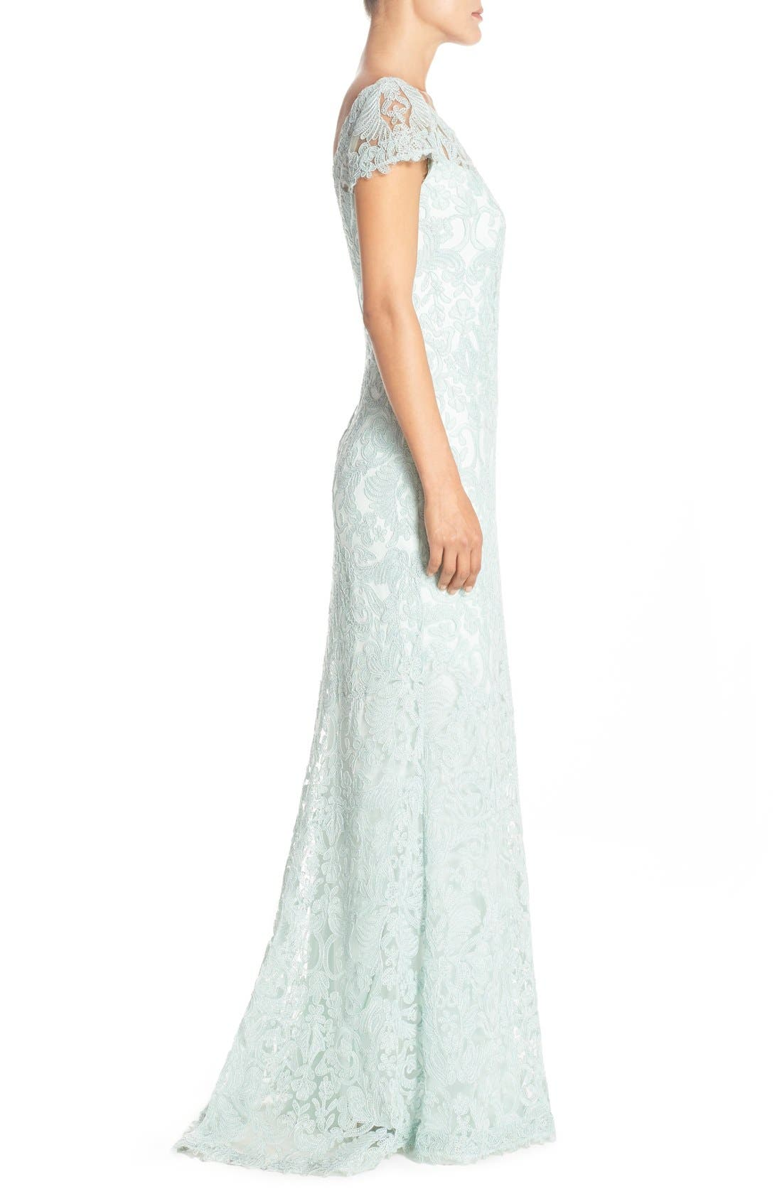 Alternate Image 4  - Tadashi Shoji Illusion Yoke Gown (Regular & Petite)
