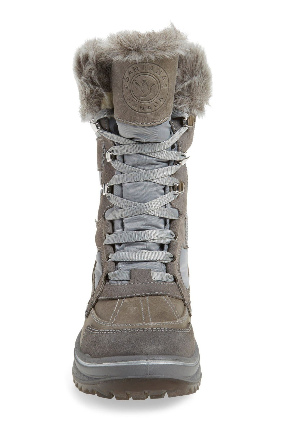 'Marta' Water Resistant Insulated Winter Boot,                             Alternate thumbnail 3, color,                             Grey Fabric