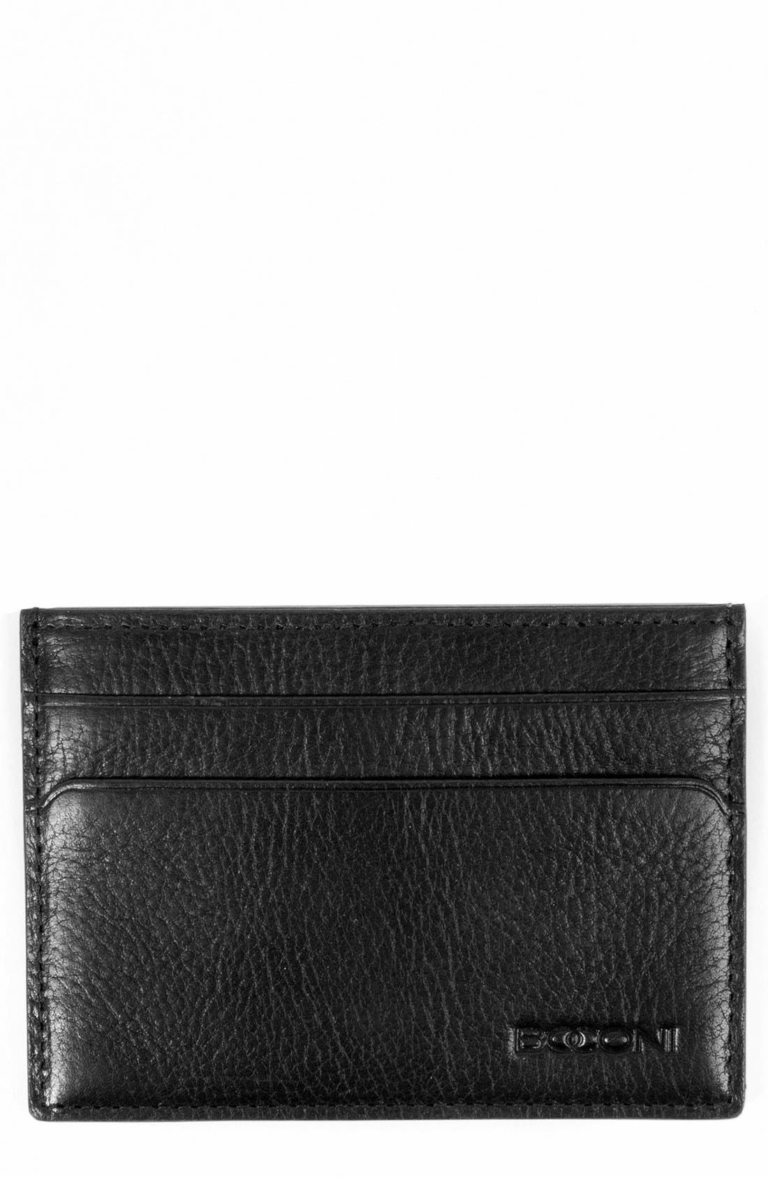 'Becker' RFID Leather Card Case,                         Main,                         color, Black