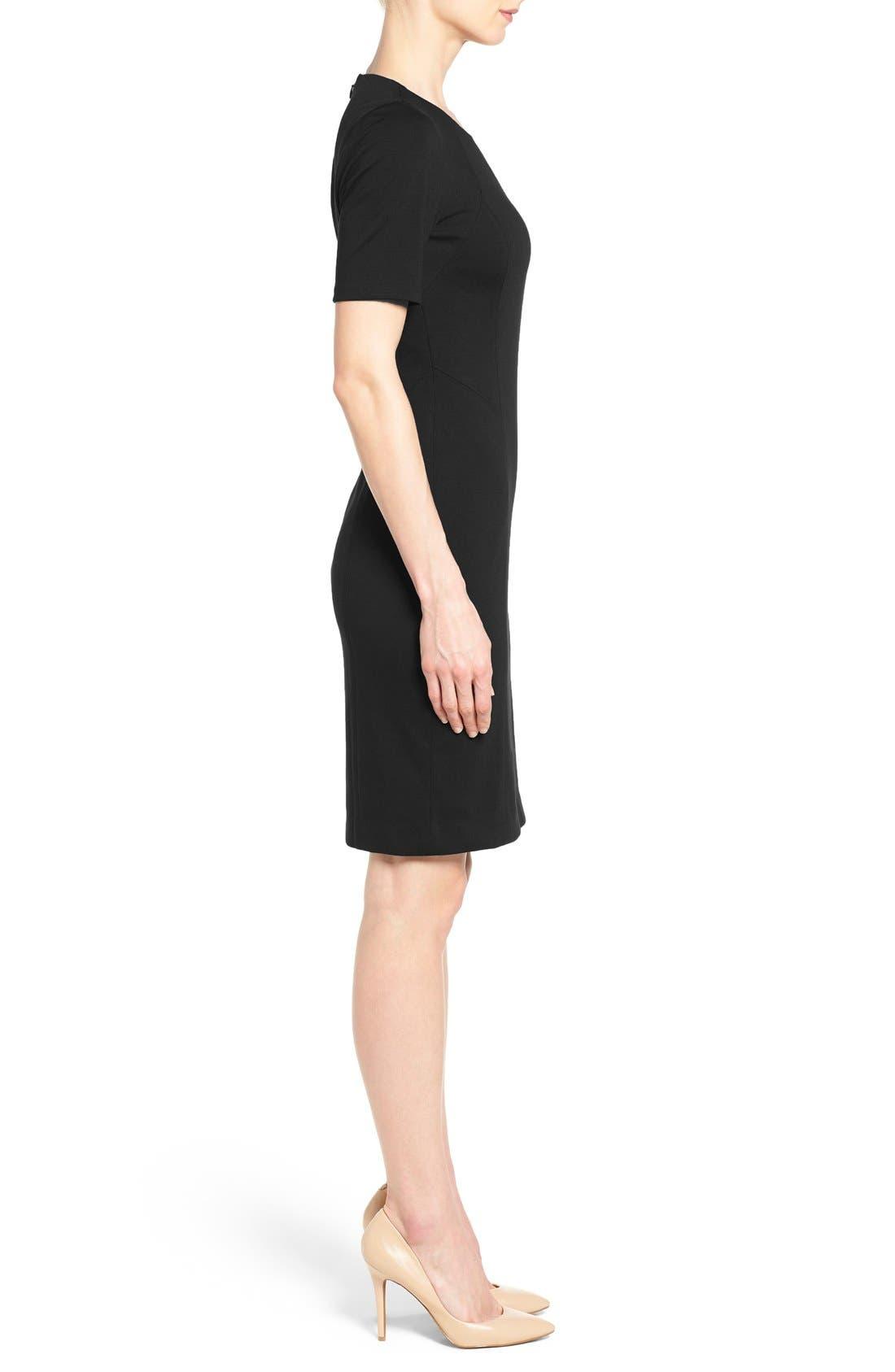 'Judianne' Short Sleeve Sheath Dress,                             Alternate thumbnail 3, color,                             Black